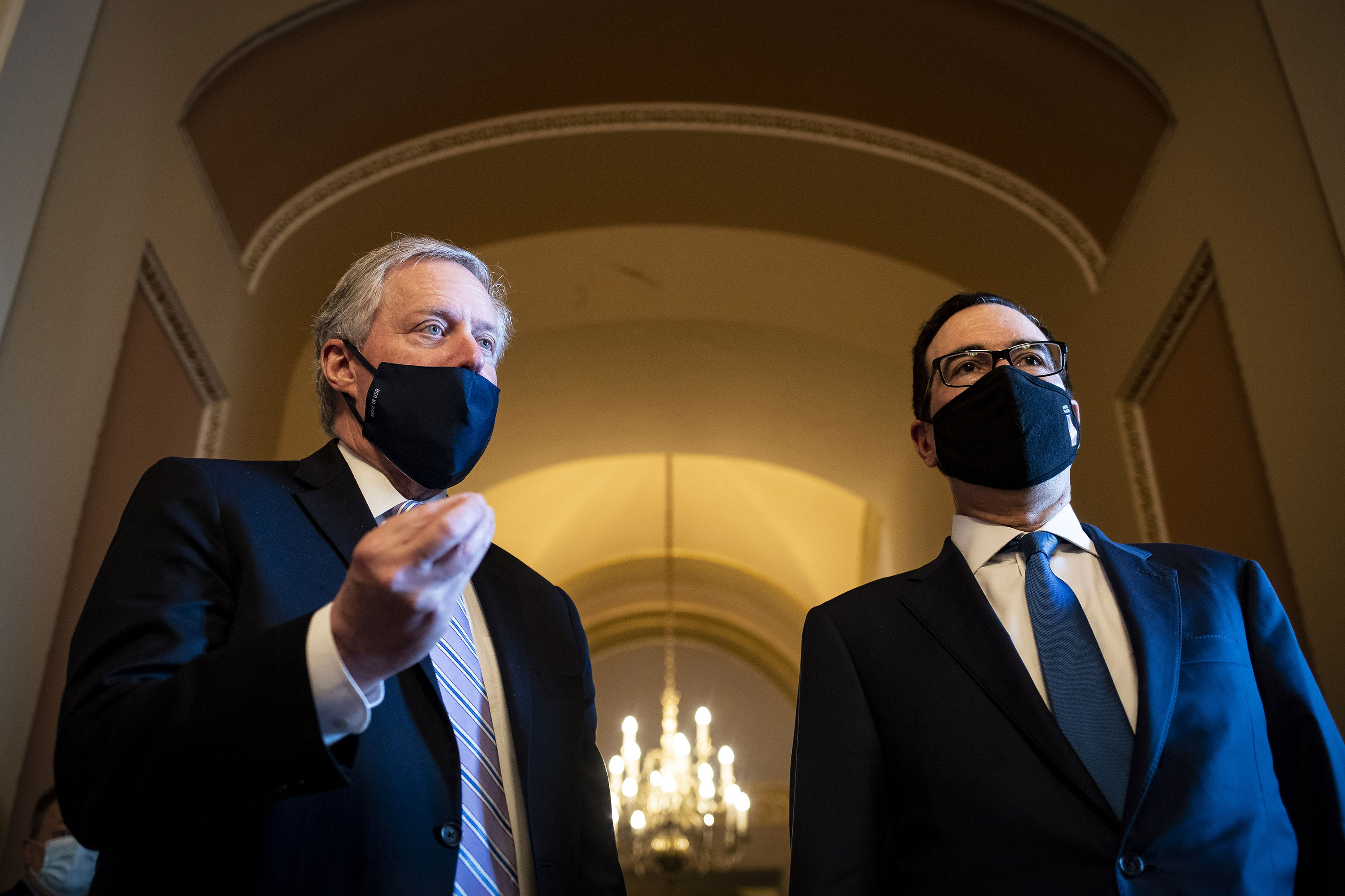 White House chief of staff Mark Meadows and Treasury Secretary Steven Mnuchin pictured at the U.S. Capitol on July 23.