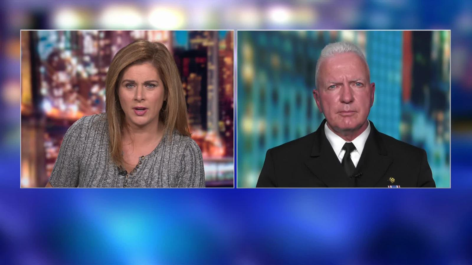 Adm. Brett Giroir (right) speaks to CNN's Erin Burnett.