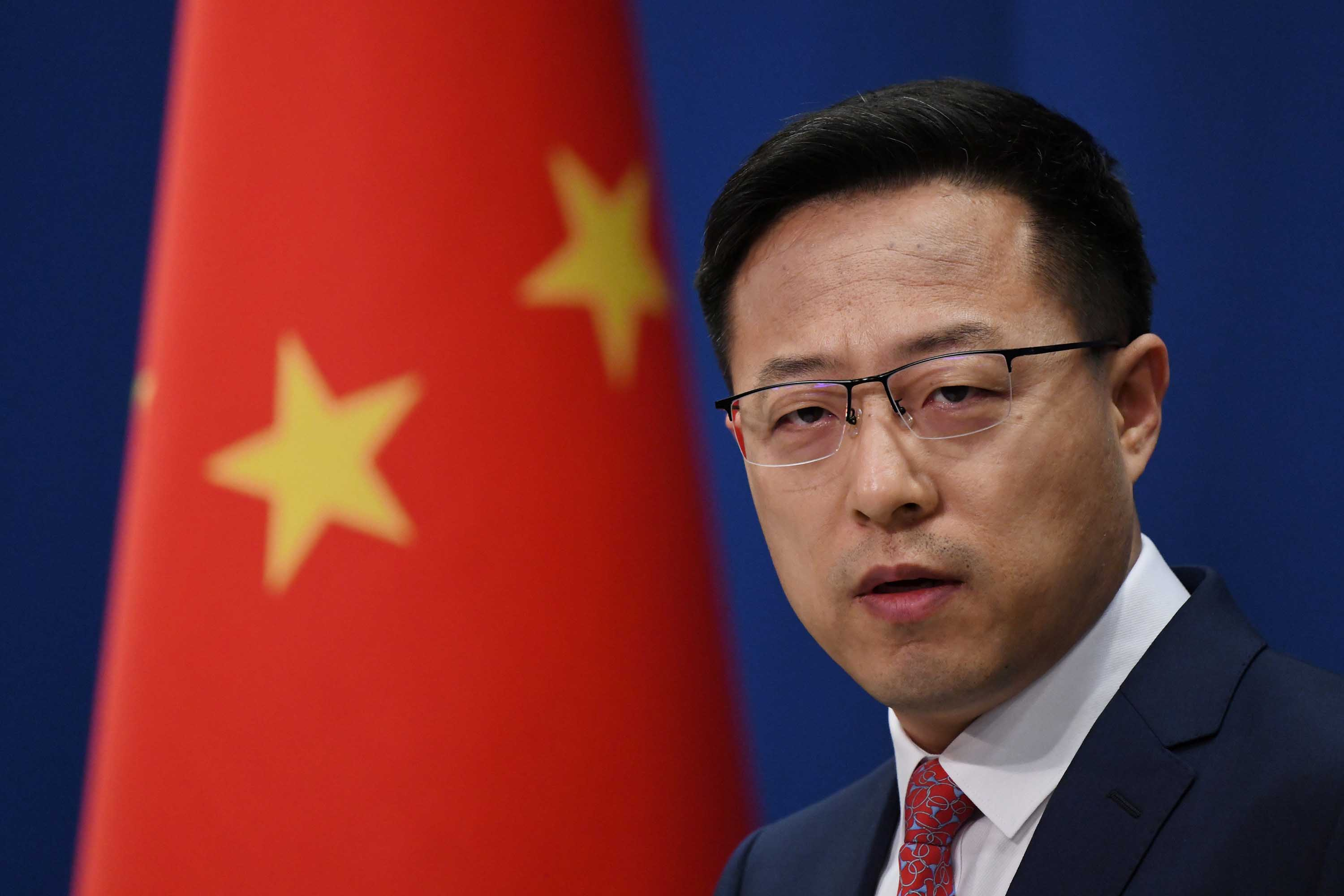 Chinese Foreign Ministry spokesman Zhao Lijian is pictured at a media briefing in Beijing, on April 8.