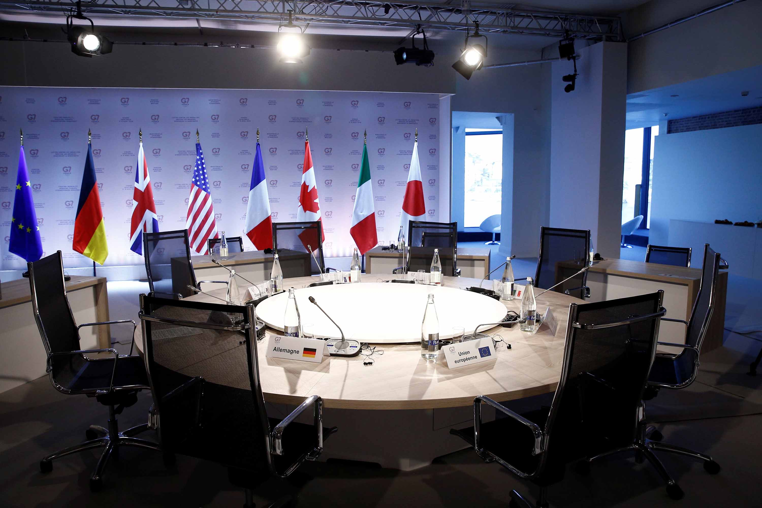 A general view shows a conference room ahead of a working session during the Foreign ministers of G7 nations meeting in Dinard, France, in April 2019.