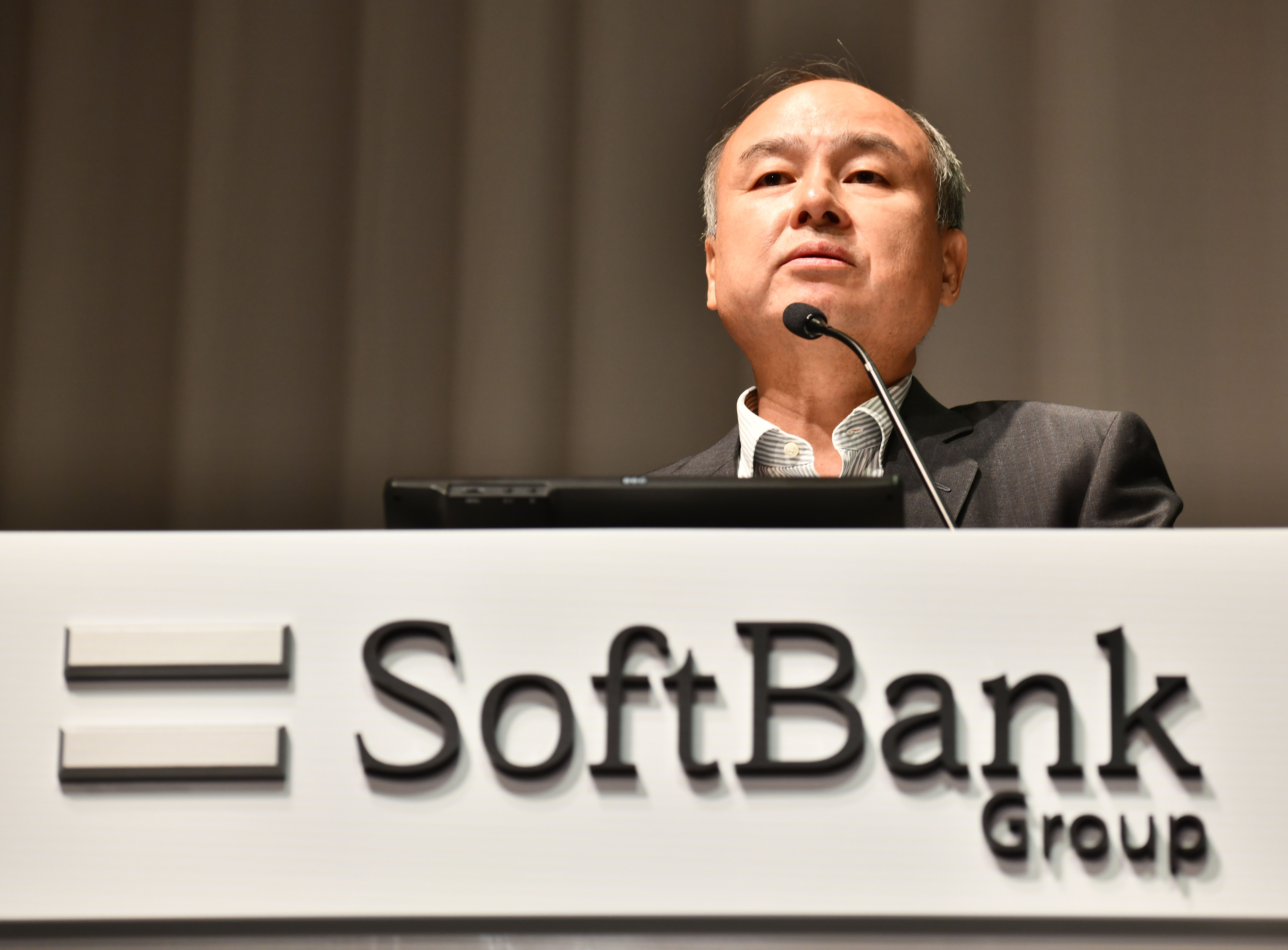 SoftBank CEO Masayoshi Son at a news conference in Tokyo in August 2019.