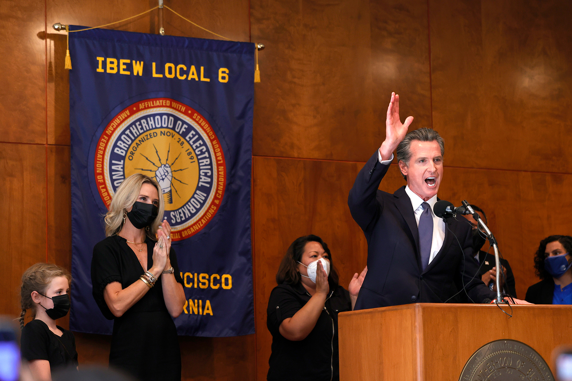 California Gov. Gavin Newsom speaks to union workers and volunteers on election day at the IBEW Local 6 union hall on Tuesday in San Francisco.