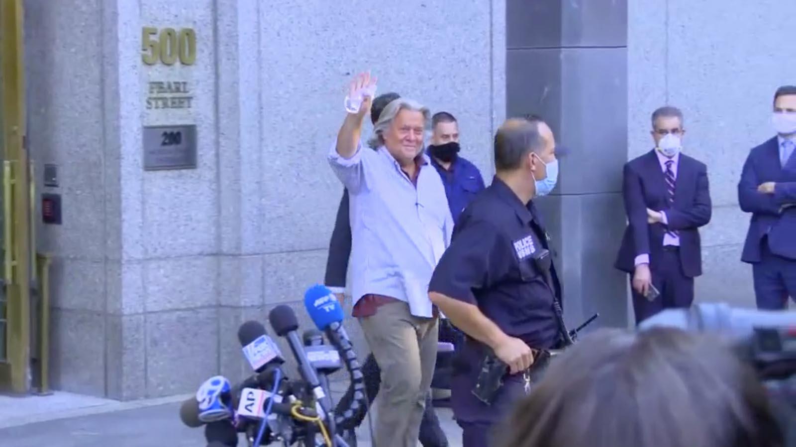 Steve Bannon leaves court in New York on Thursday, Aug. 20.