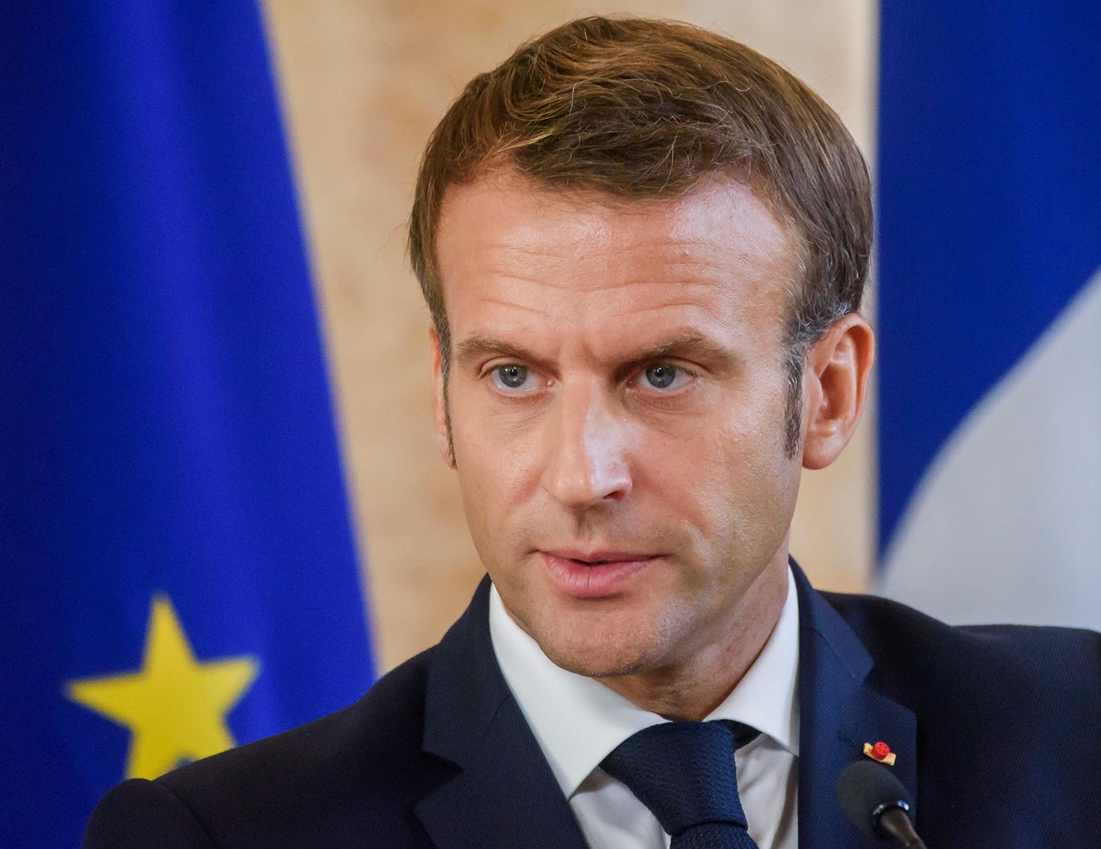 French President Emmanuel Macron attends a news conference on September 30, in Riga, Latvia.