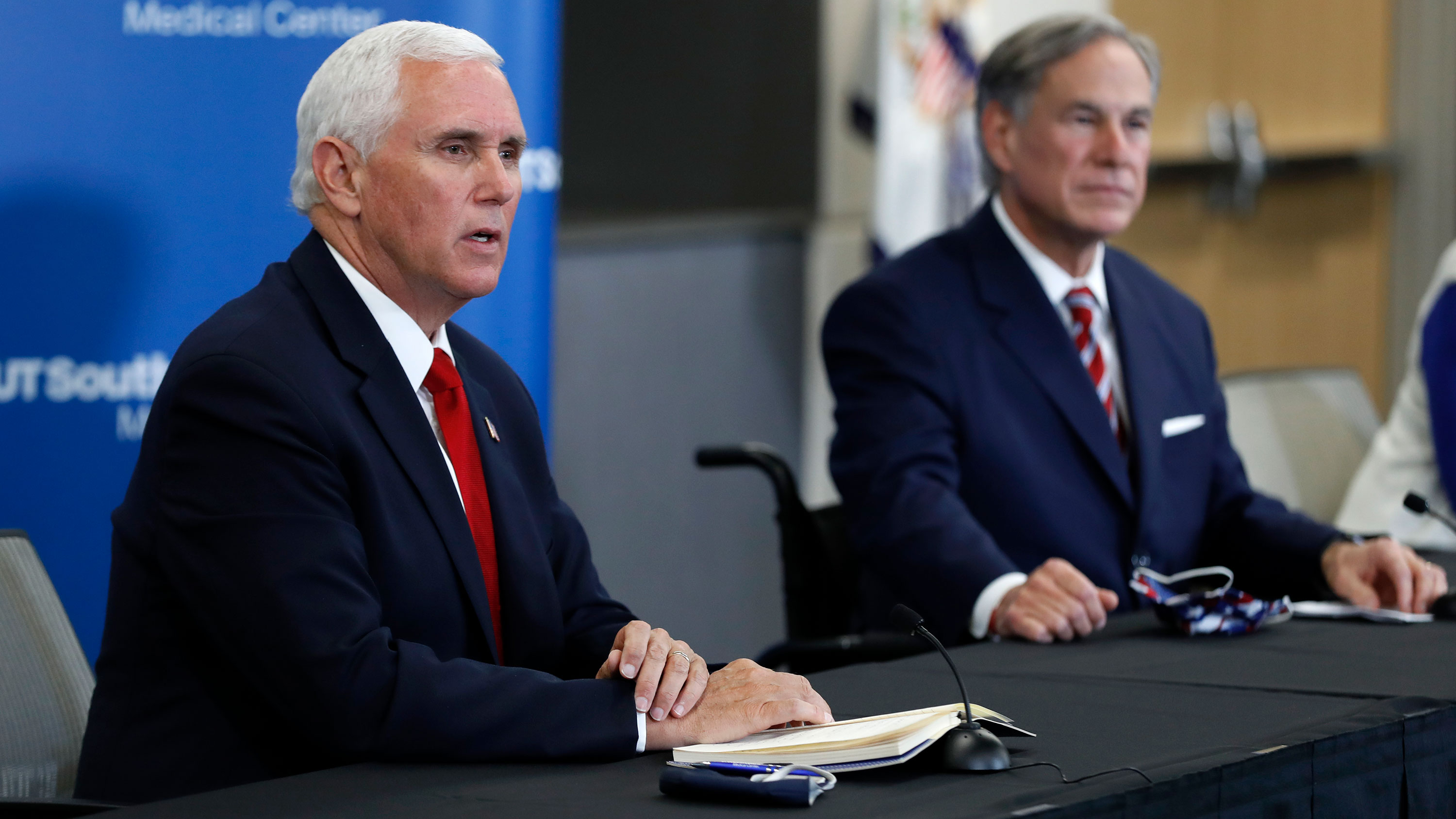 US Vice President Mike Pence speaks during a news conference alongside Gov. Greg Abbott  at the University of Texas Southwestern Medical Center West Campus on June 28 in Dallas, Texas.