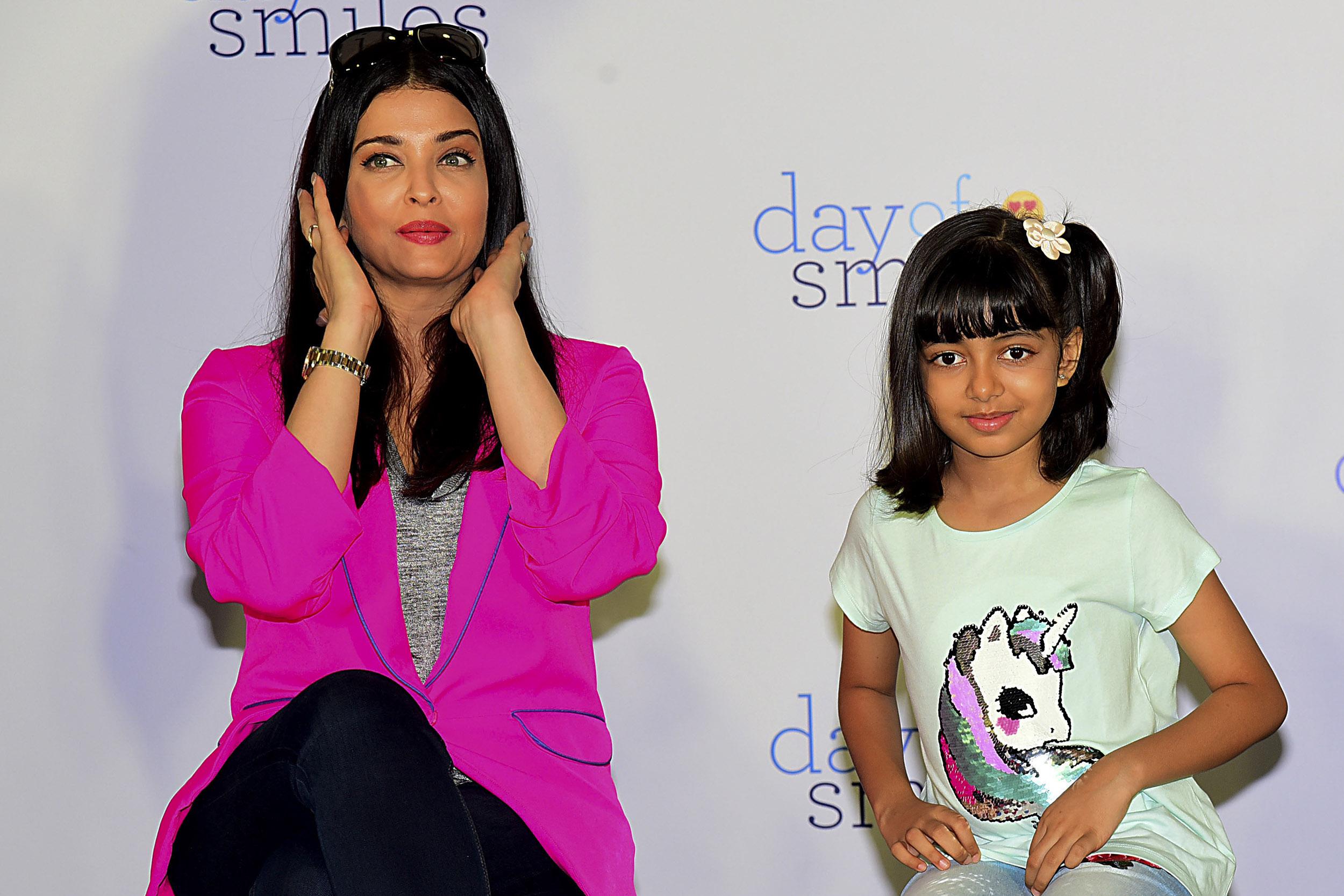 Bollywood actress Aishwarya Rai Bachchan and daughter Aaradhya Bachchan in Mumbai, India, on November 20, 2019.
