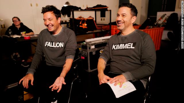 Comedians Jimmy Fallon and Jimmy Kimmel, pictured, will host the event with Stephen Colbert.