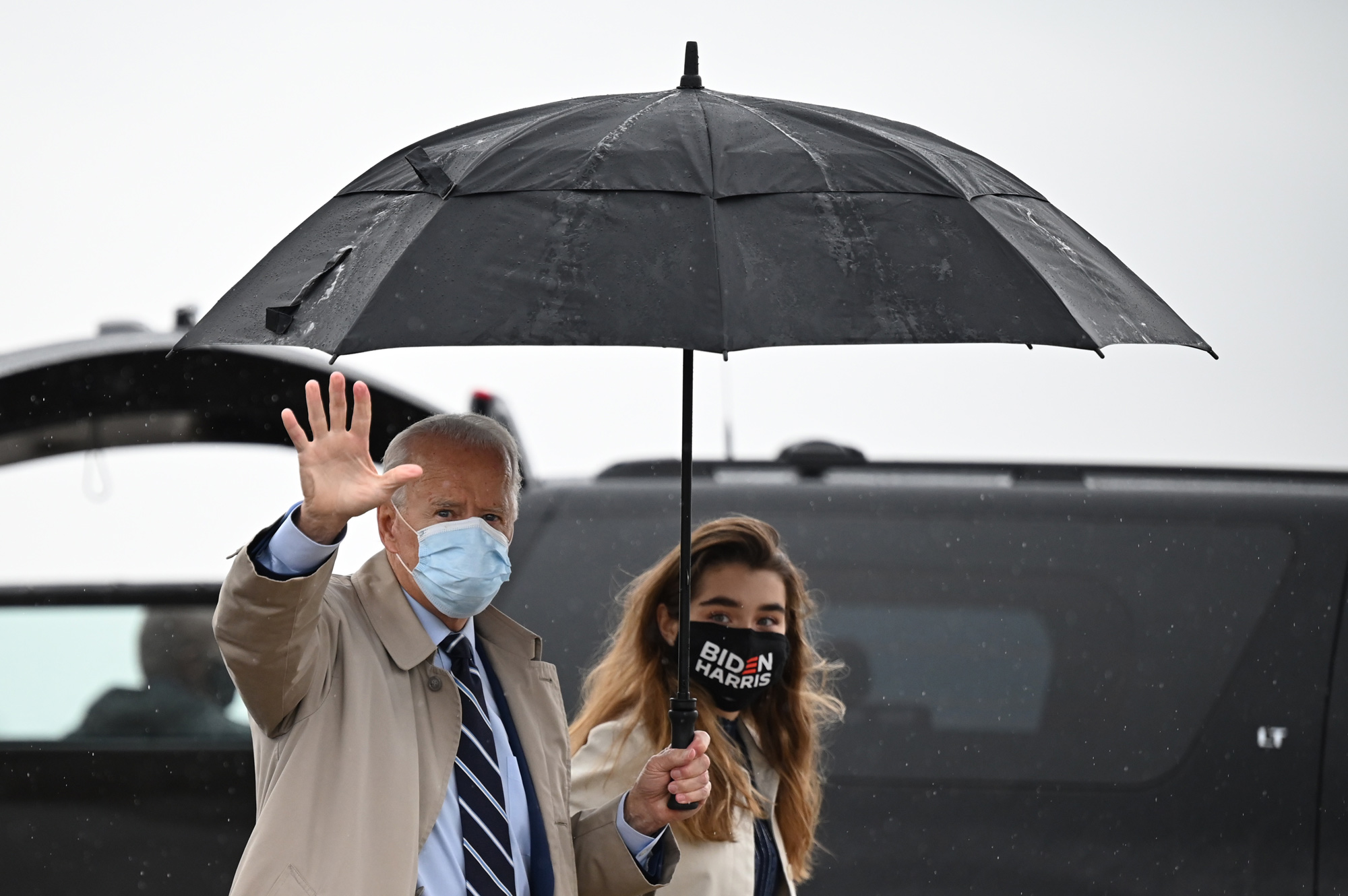 Democratic presidential candidate Joe Biden arrives to board his plane in New Castle, Delaware, on October 29.