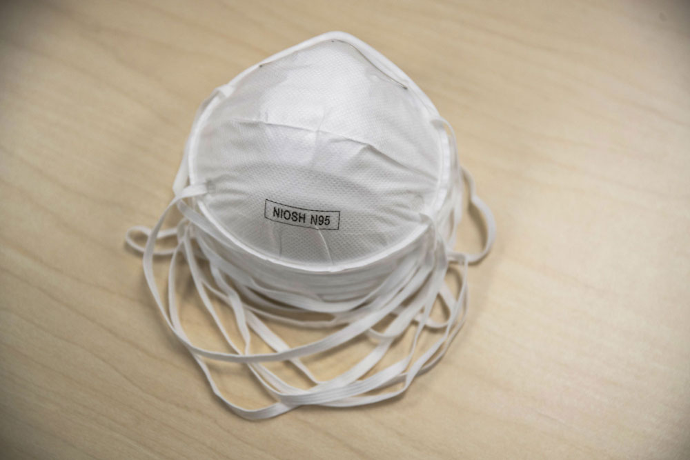 N95 particulate respirator masks are arranged for a photograph at a Dealmed-Park Surgical supply facility in Lakewood, New Jersey, U.S., on Wednesday, March 11.
