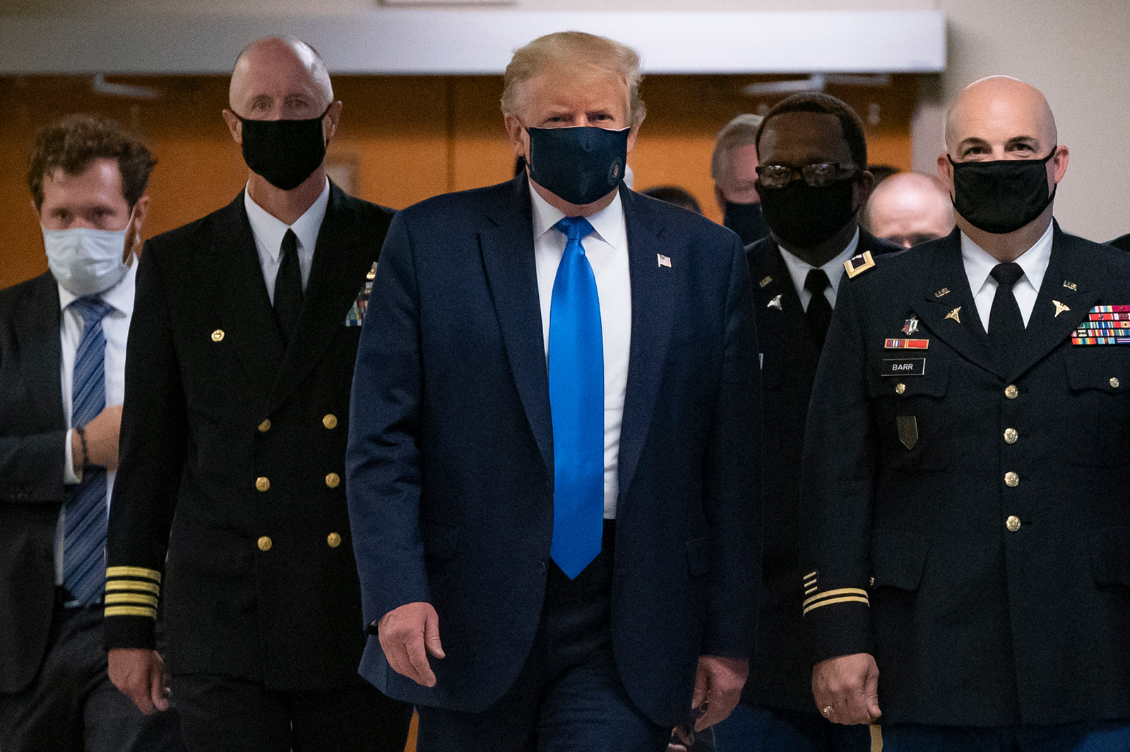 President Donald Trump wears a mask during a July 11 visit to the Walter Reed National Military Medical Center in Bethesda, Maryland.