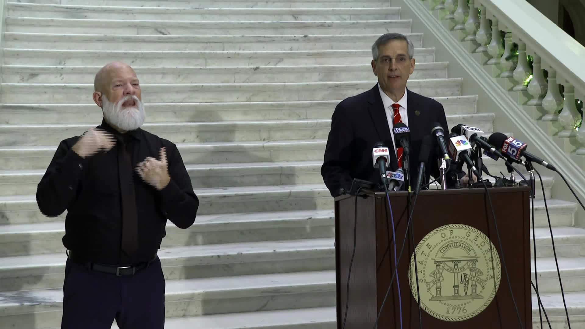 Georgia Secretary of State Brad Raffensperger speaks during a press conference in Atlanta on December 2.