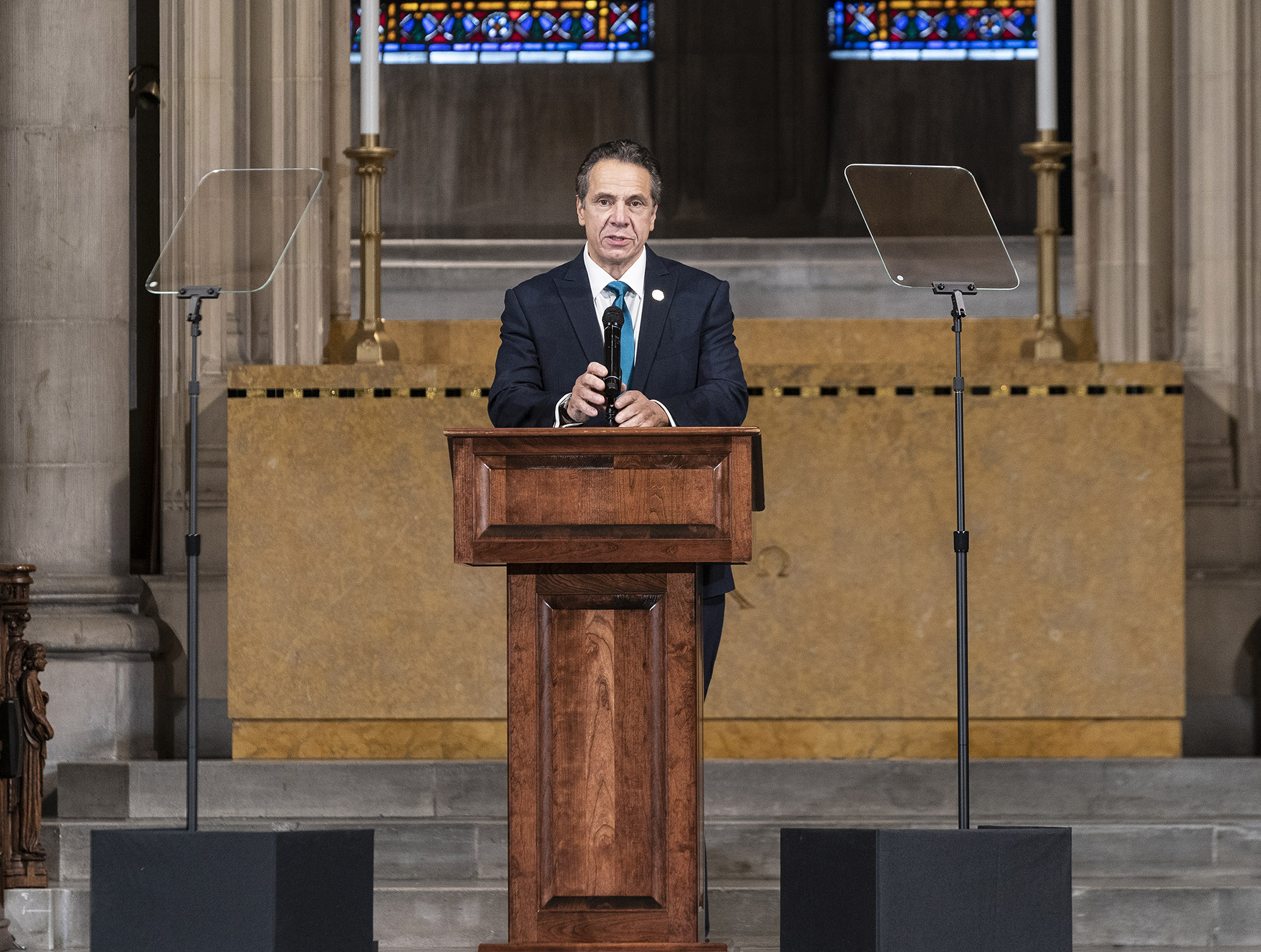 Governor Andrew Cuomo delivers remarks on the inequities in the Trump administration's vaccine distribution plan at Riverside Church in New York, on November 15.
