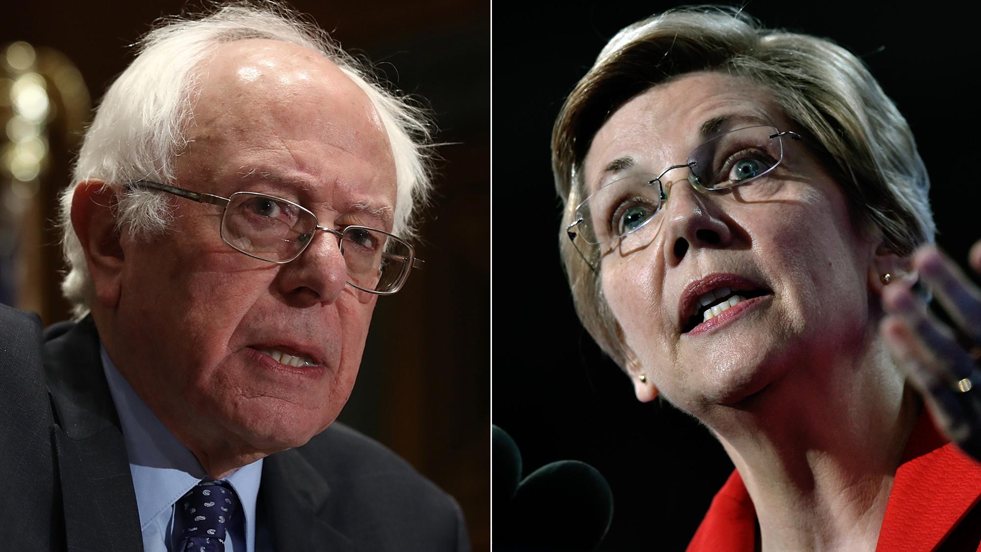 Bernie Sanders (L) and Elizabeth Warren (R)