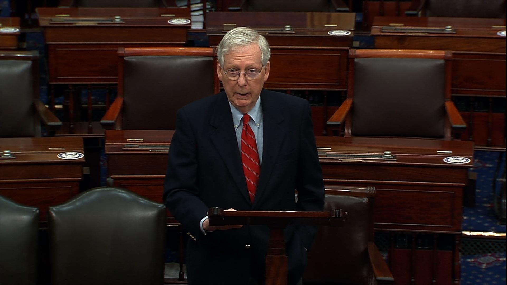 Senate Majority Leader Mitch McConnell speaks on the senate floor in Washington, DC, on November 9.