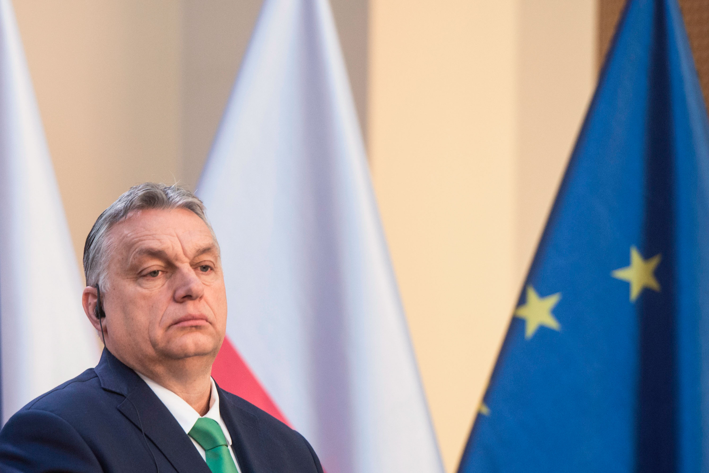 Hungary's Prime Minister Viktor Orban gives a press conference with other leaders in Prague, Czech Republic, on March 4.