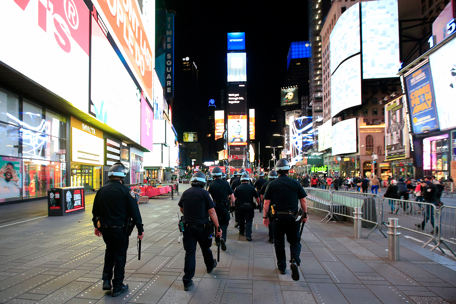 Officers patrol Time Square as activists hold a rally on May 31, in New York City.