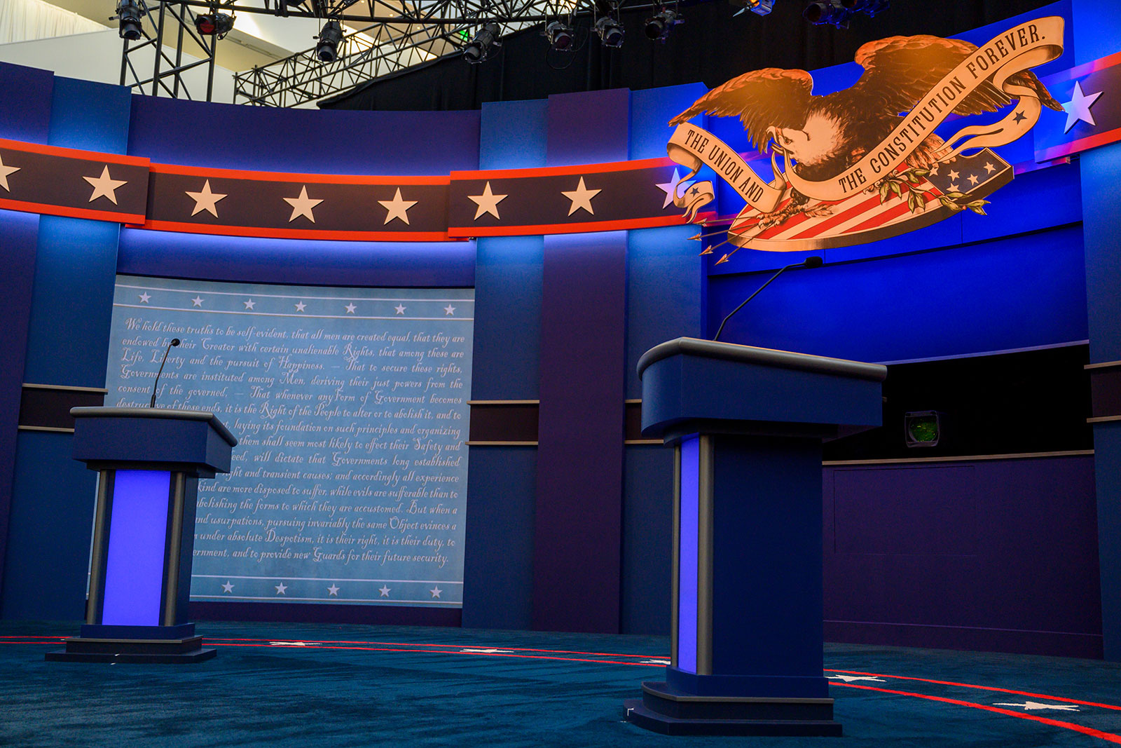 The empty stage of the first US Presidential debate is seen on September 29 in Cleveland, Ohio.