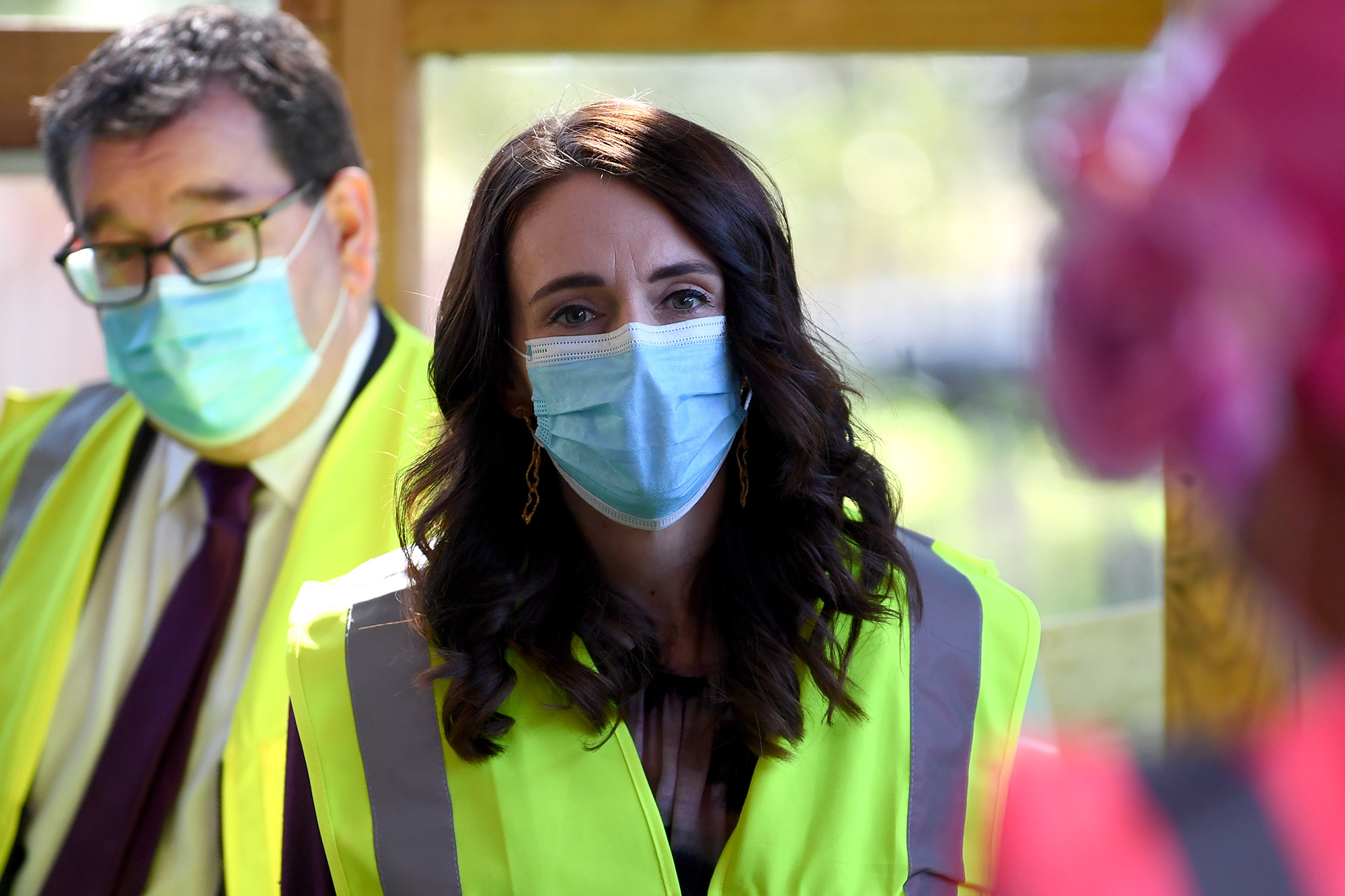 New Zealand Prime Minister Jacinda Ardern looks on at the Manukau Institute of Technology on September 3, in Auckland, New Zealand. Hannah Peters/Getty Images