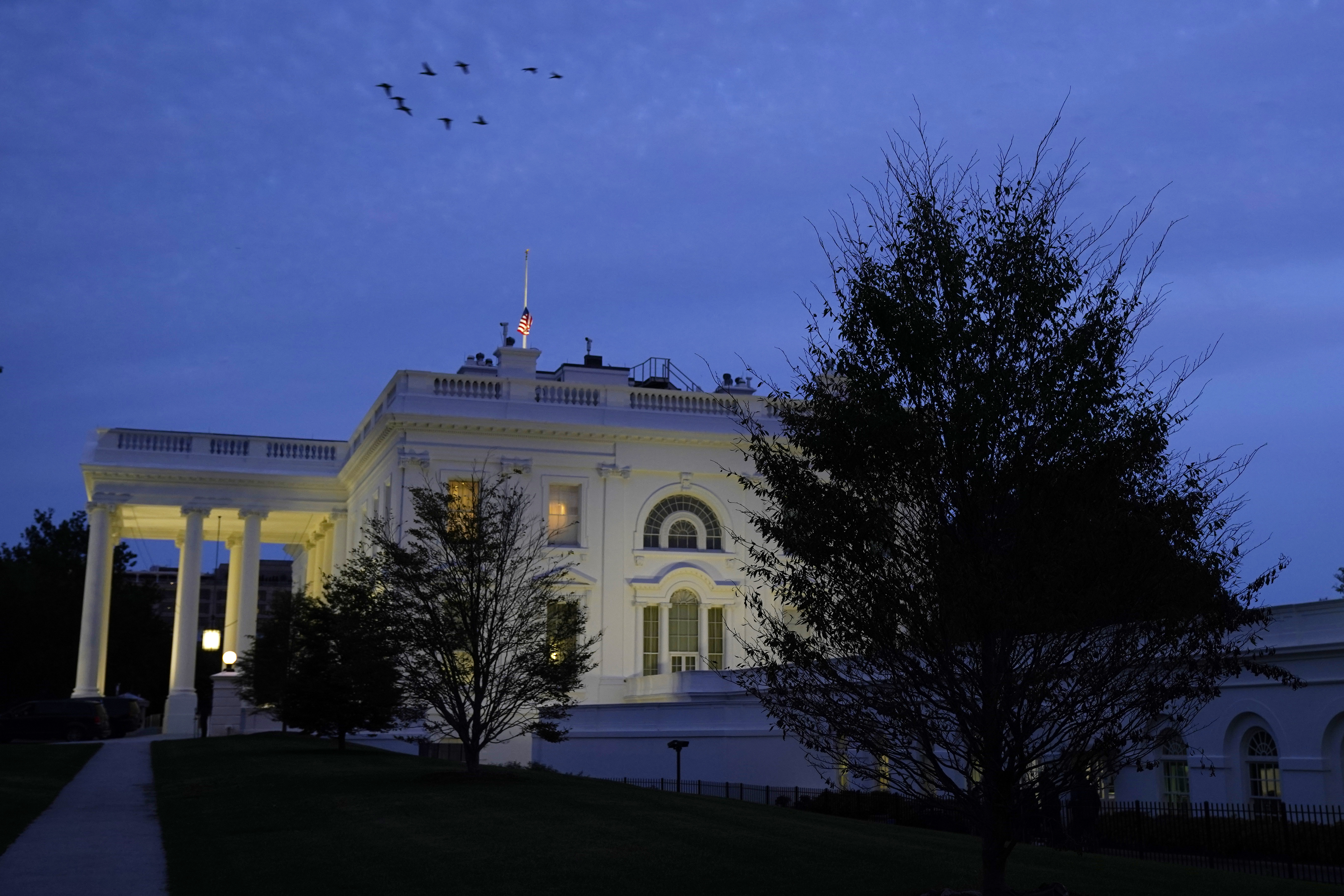 The White House is seen on Sunday evening, October 4 in Washington, DC.