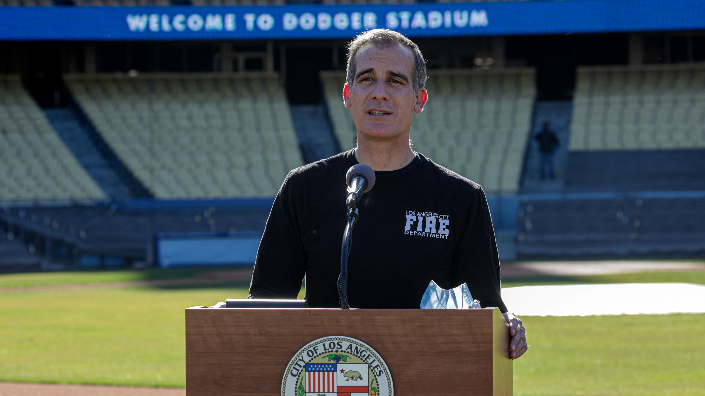 Los Angeles Mayor Eric Garcetti speaks during a press conference held at the launch of a mass Covid-19 vaccination site at Dodger Stadium on January 15, in Los Angeles, California.