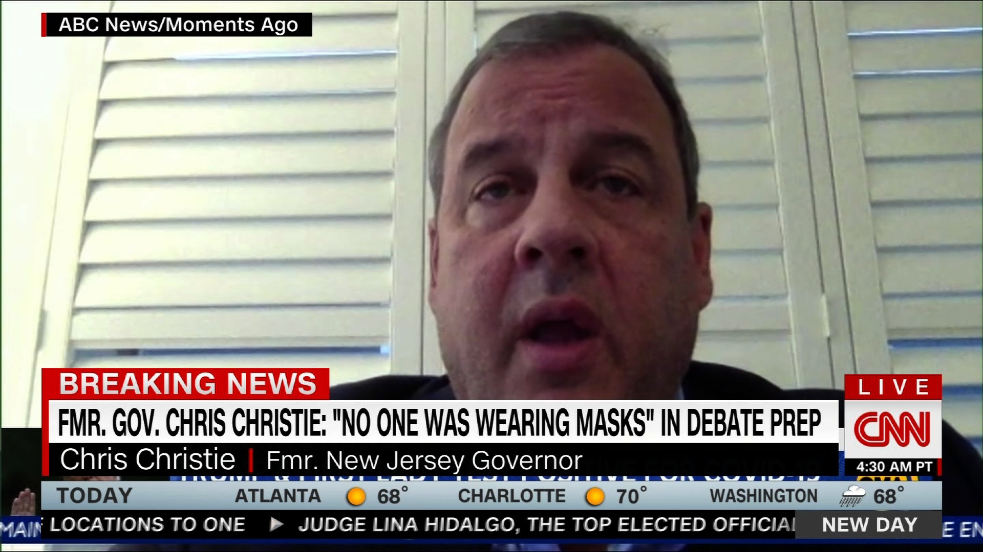 "Chris Christie says ""no one was wearing masks"" during Trump's debate prep"
