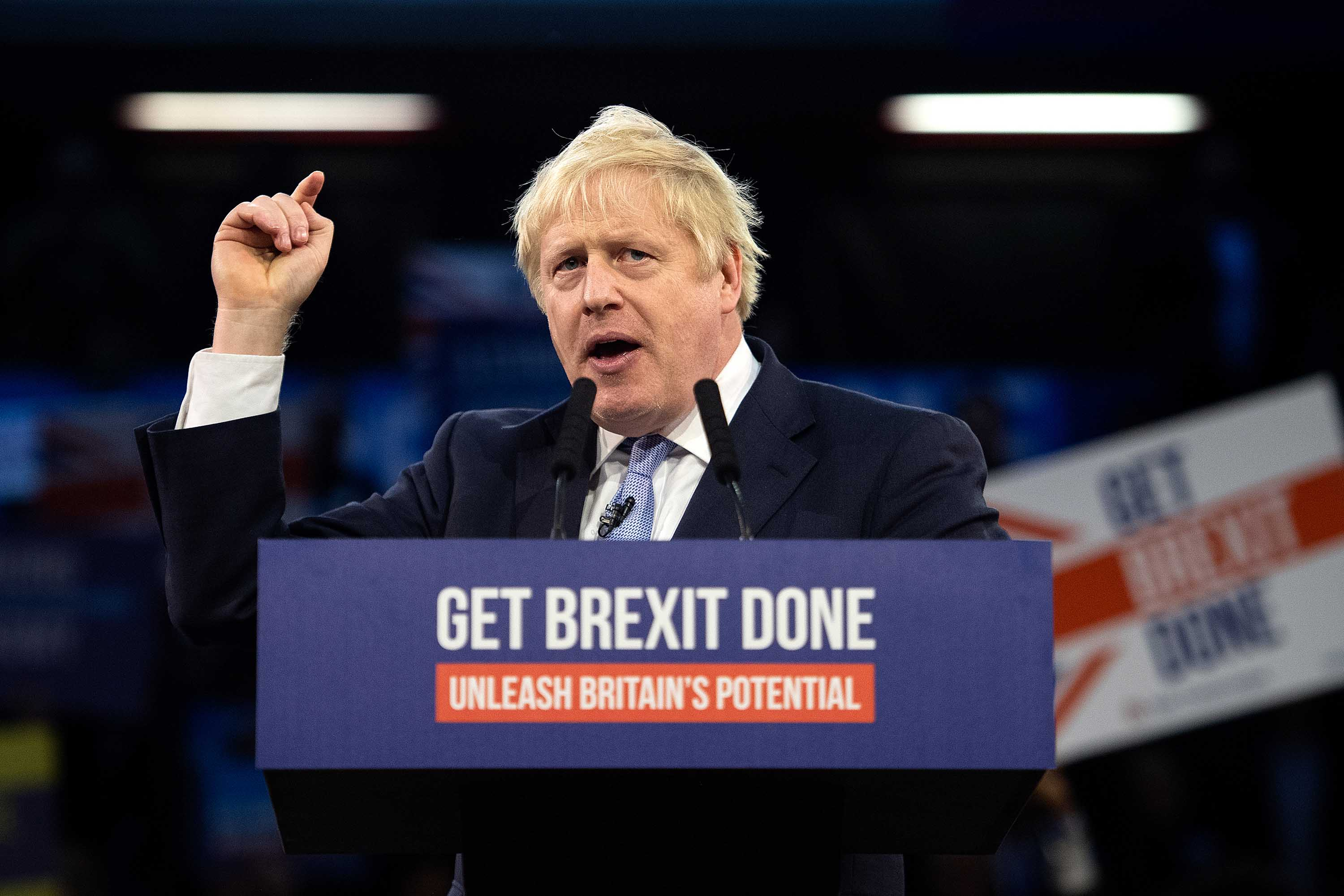 Prime Minister Boris Johnson speaks to supporters at the Copper Box Arena in London on Wednesday. Photo: Leon Neal/Getty Images