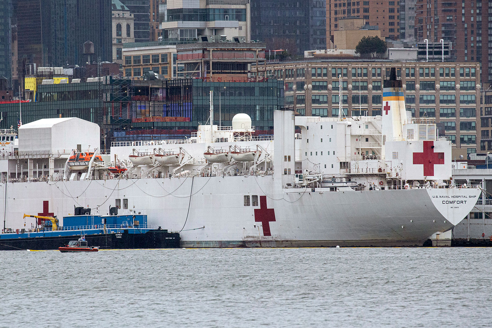 The USNS Comfort docked at Pier 90 in Manhattan on April 3. Ten patients were transported to the ship after a New York City hospital had issues with its oxygen supply Tuesday night.