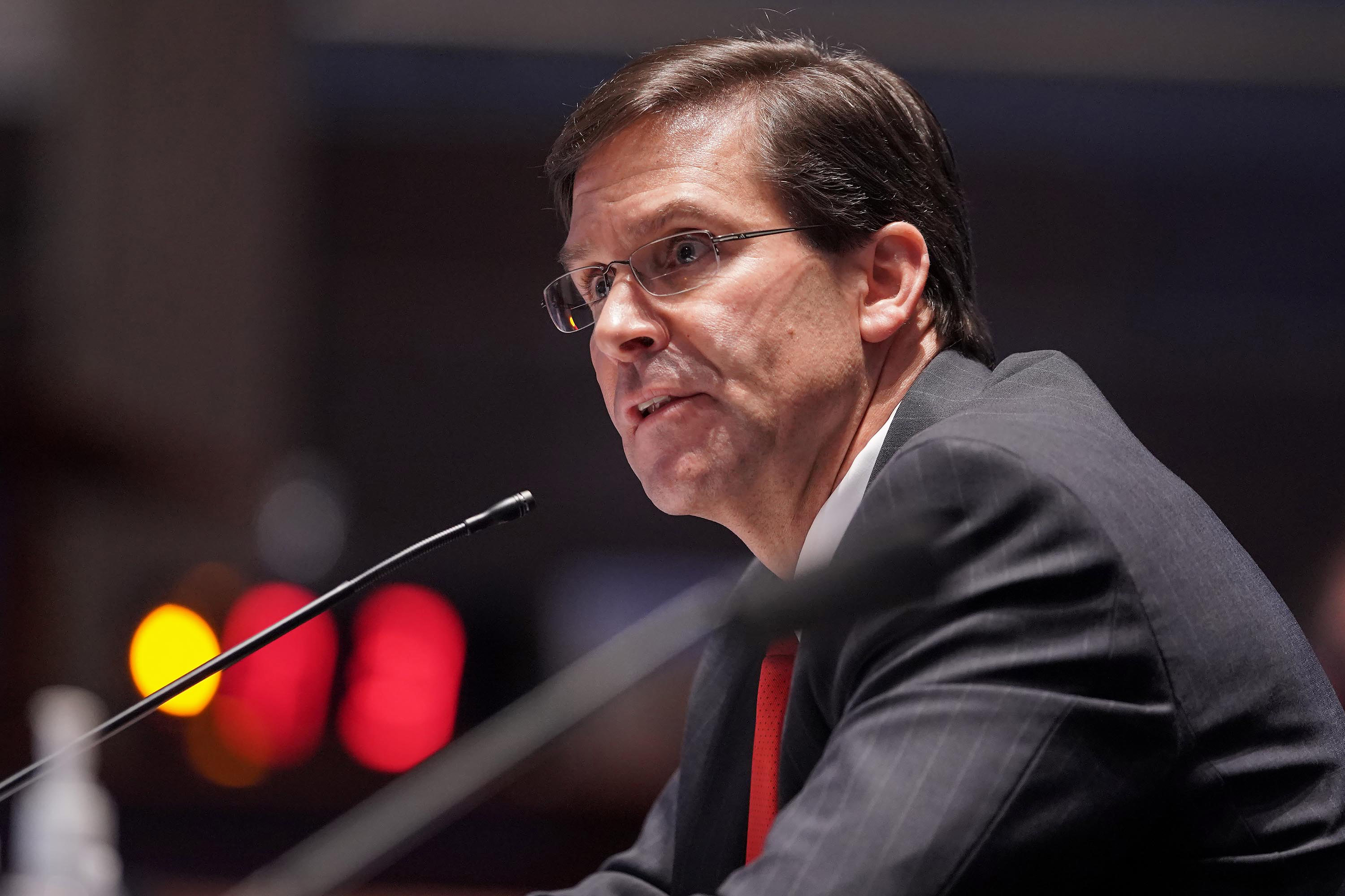 Secretary of Defense Mark Esper testifies during a House Armed Services Committee hearing on July 9 in Washington, DC.
