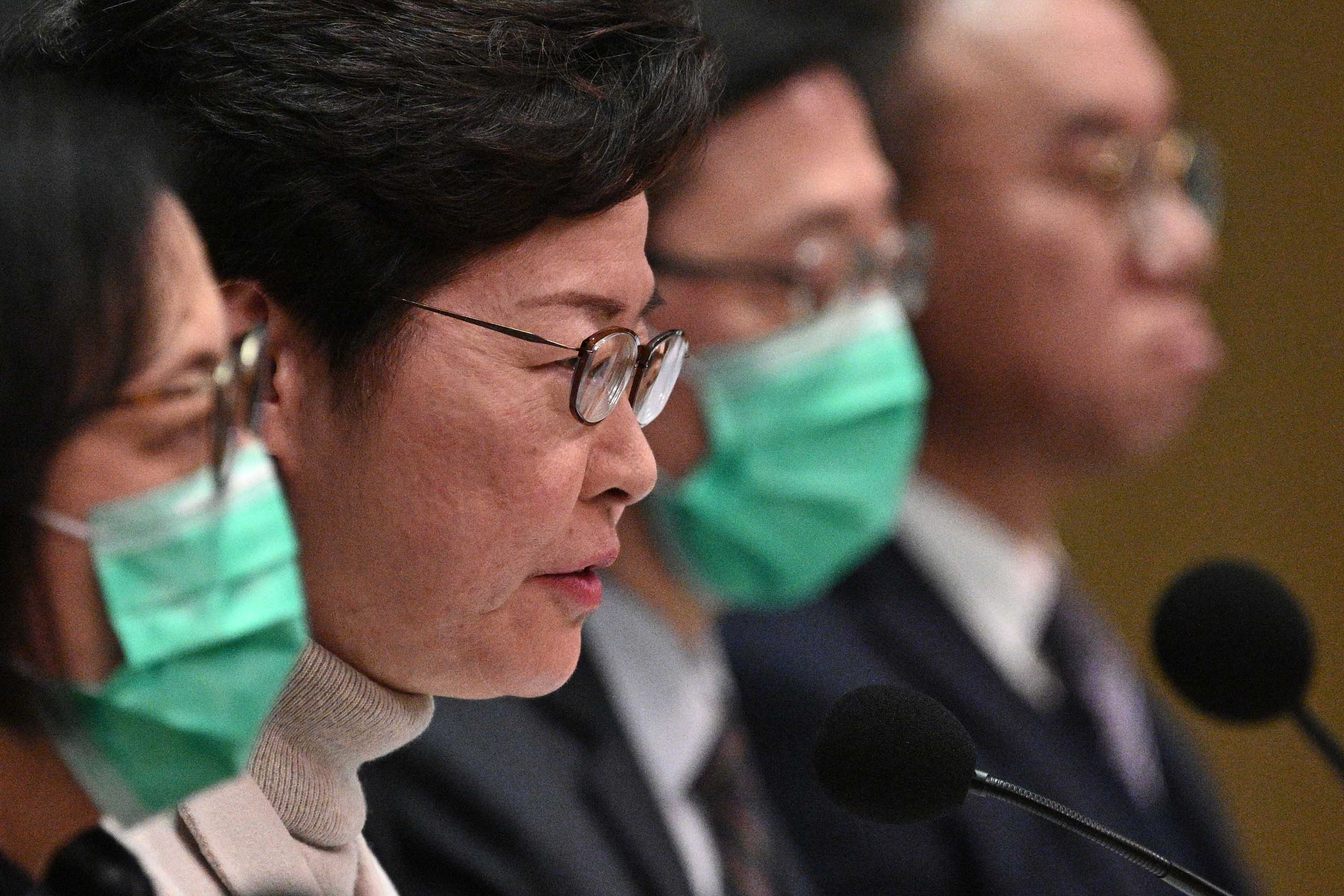 Hong Kong's Chief Executive Carrie Lam speaks during a press conference in Hong Kong on February 3.