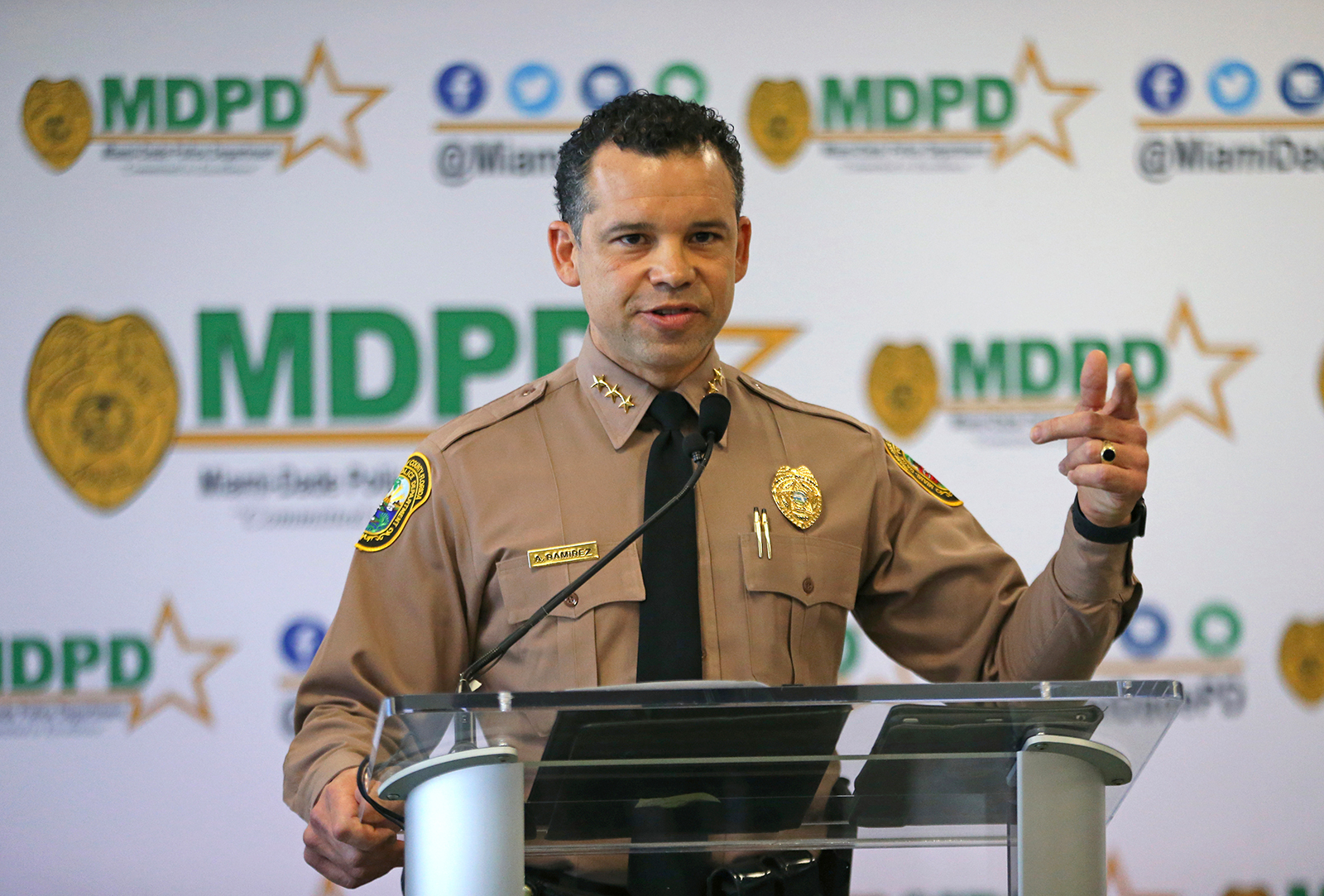 Miami-Dade Police Department director Alfredo Ramirez III talks during the press conference at Miami-Dade Police Department Headquarters in Miami, on January 8.