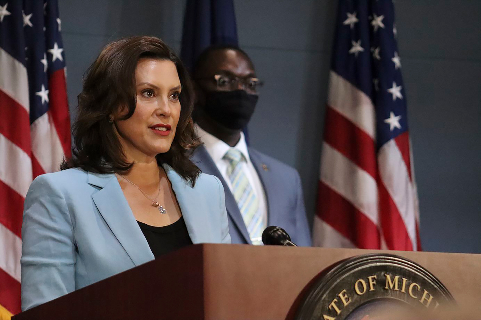 In this file photo, Michigan Gov. Gretchen Whitmer addresses the state during a speech in Lansing, Michigan on July 9.