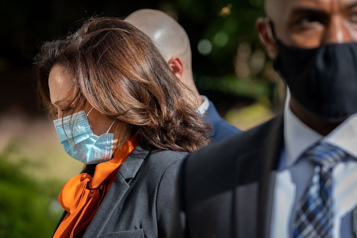 Senator Kamala Harris arrives at the Hart Senate Office building to participate in a Senate Judiciary Committee confirmation hearing in Washington, D.C. on October 13