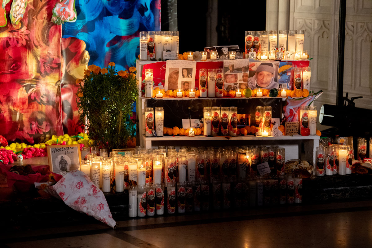 The Corona Altar, an art installation dedicated to those who died from the coronavirus by artist Scherezade García, marks Dia de Los Muertos or Day of the Dead. The installation includes personal offerings placed by visitors at The Green-Wood Chapel at The Green-Wood Cemetery on October 30 in New York City.