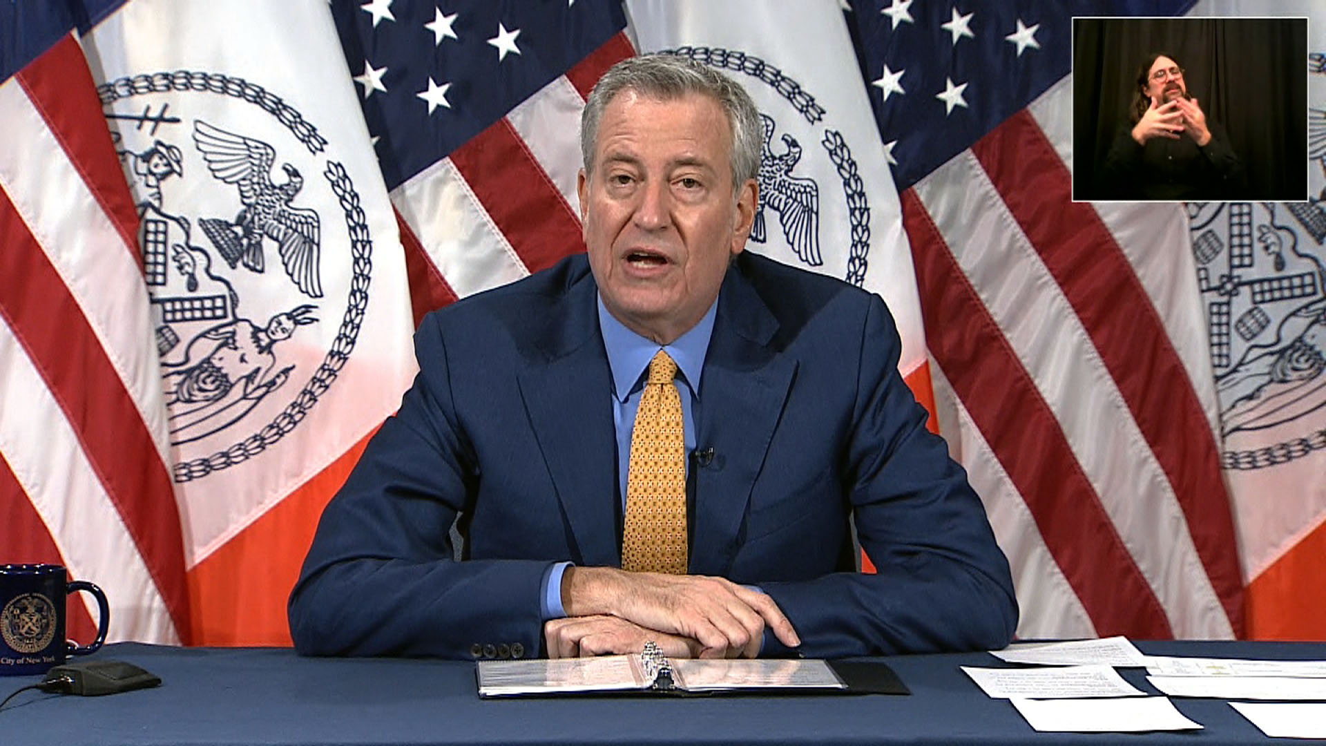 New York City Mayor Bill de Blasio speaks during a press conference in New York City, New York, on November 25.
