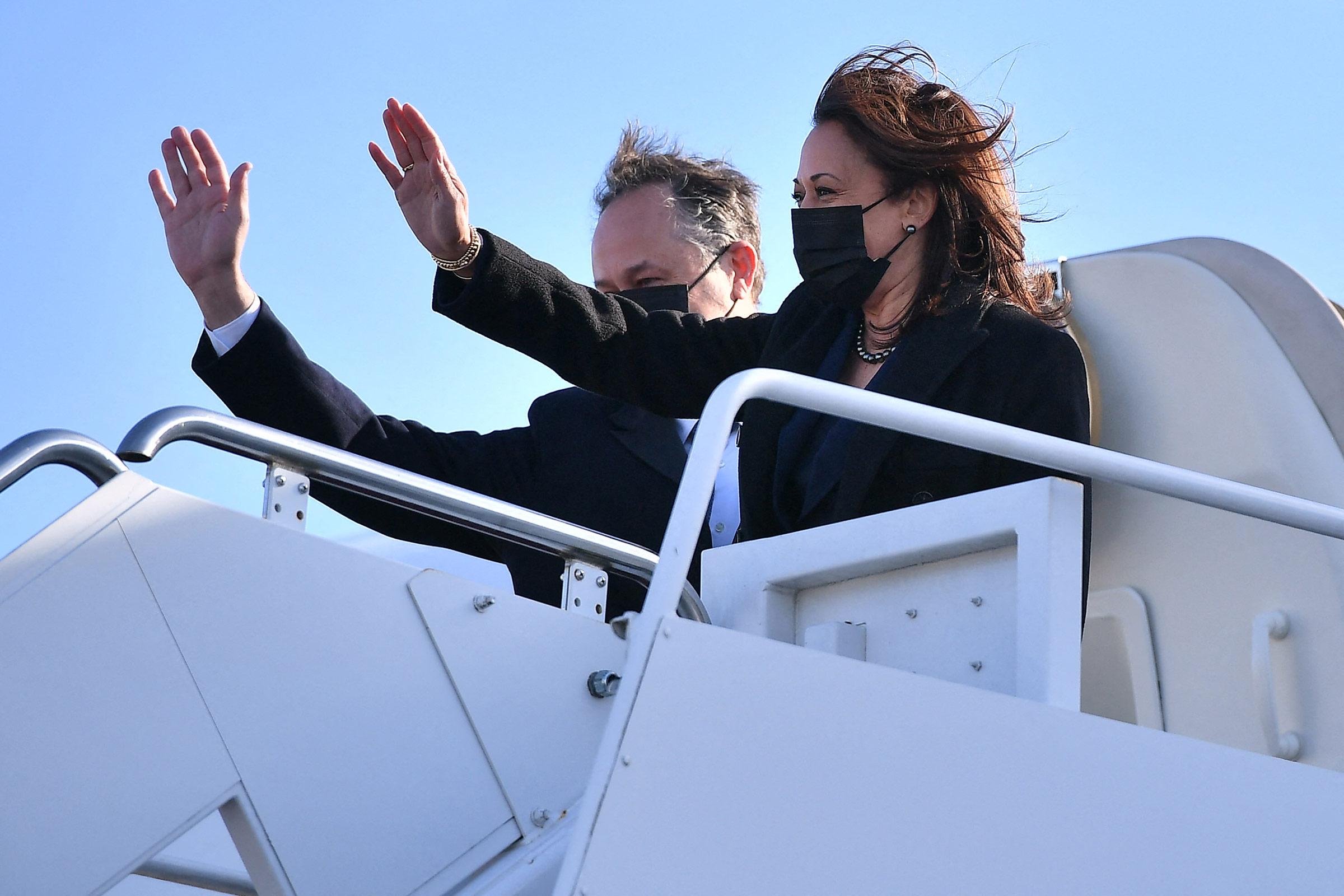 Vice President Kamala Harris and Second Gentleman Doug Emhoff depart from Joint Base Andrews in Maryland, on March 15.