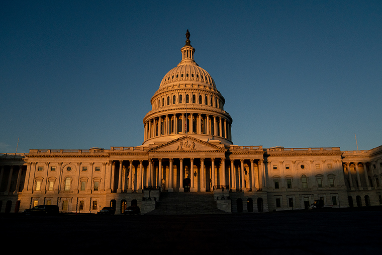 The U.S. Capitol stands on January 13, 2021 in Washington, DC.