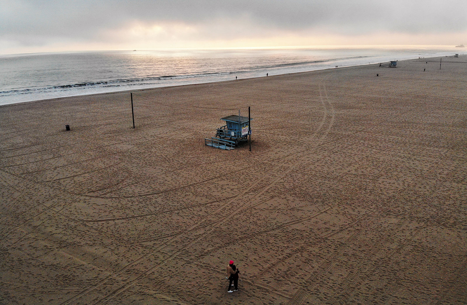 An aerial view of Venice Beach on April 26.