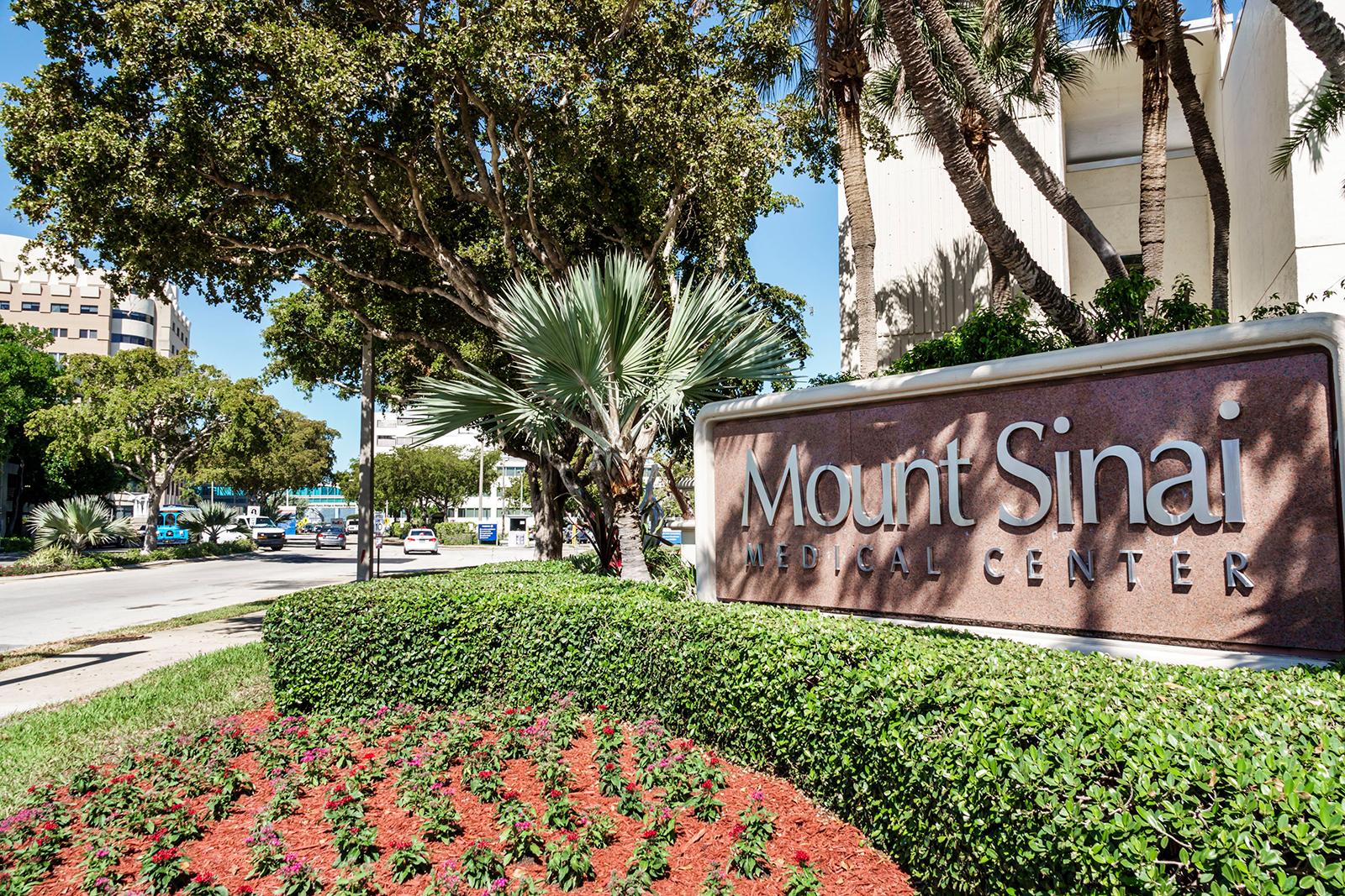 A sign for Mount Sinai Medical Center is seen in Miami Beach, Florida.