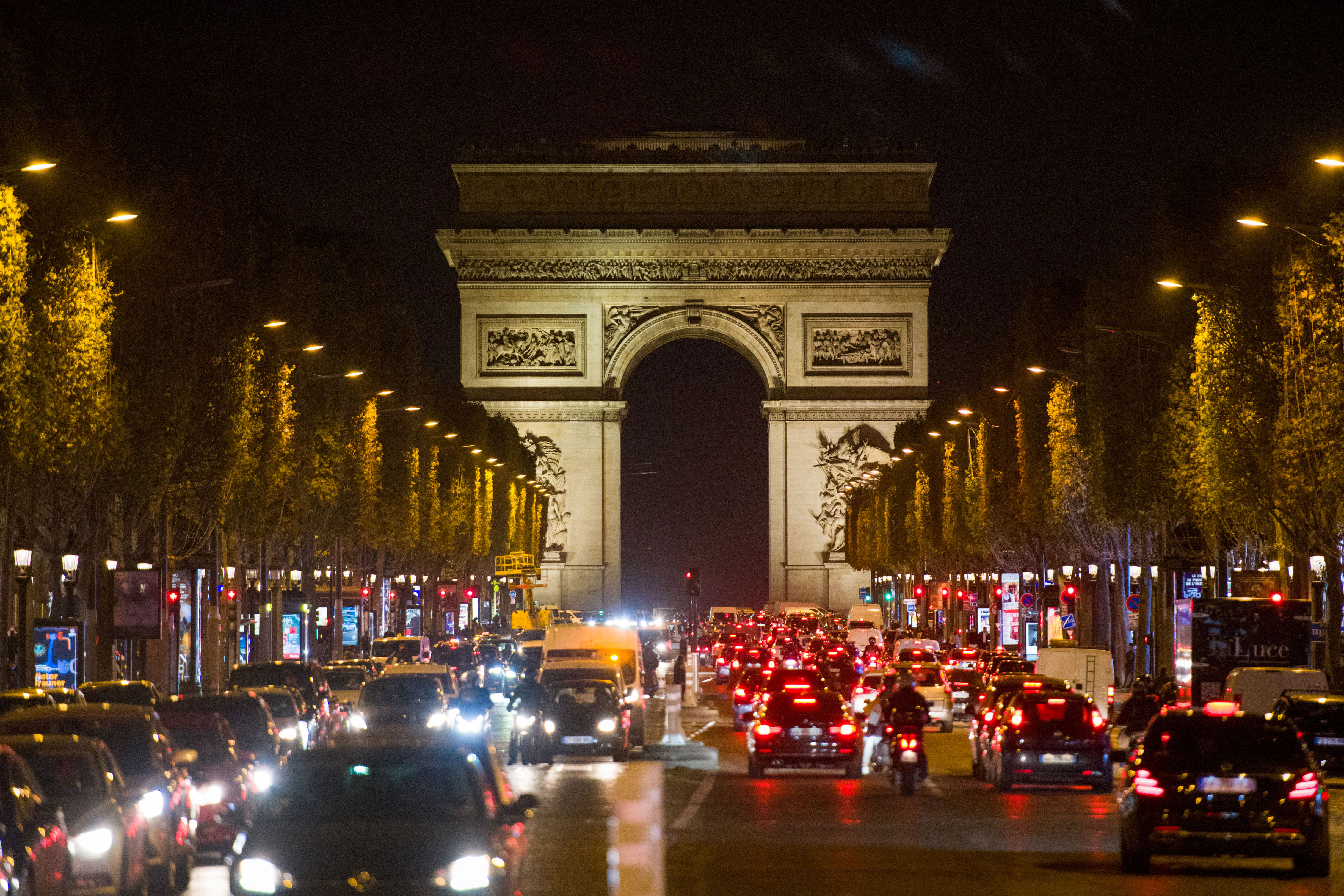 Traffic is seen on the Champs-Élysées in Paris on October 29.