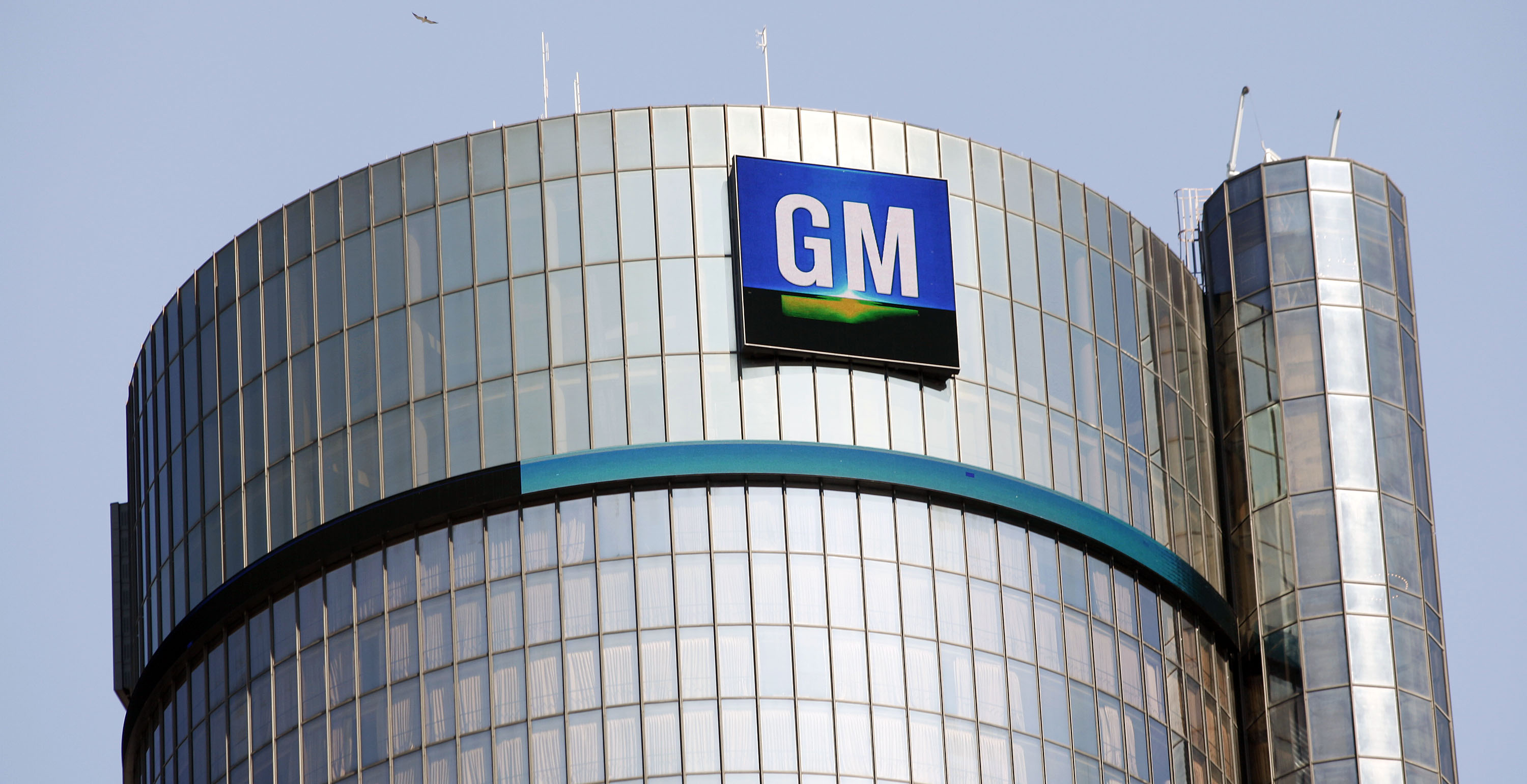 The General Motors logo is seen on the world headquarters in Detroit, Michigan