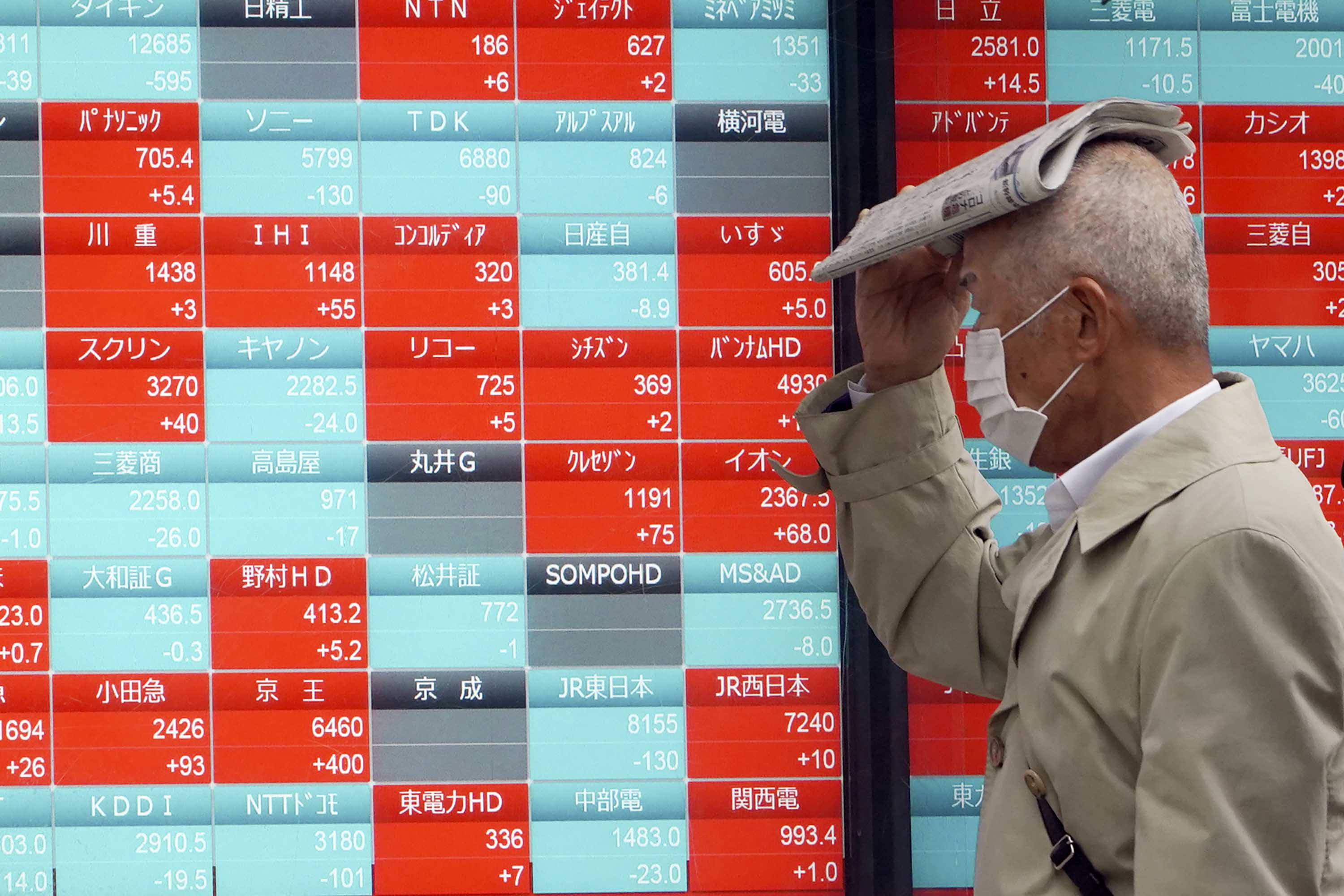 A pedestrian passes an electronic stock board showing Japan's Nikkei 225 index at a securities firm in Tokyo on Monday.