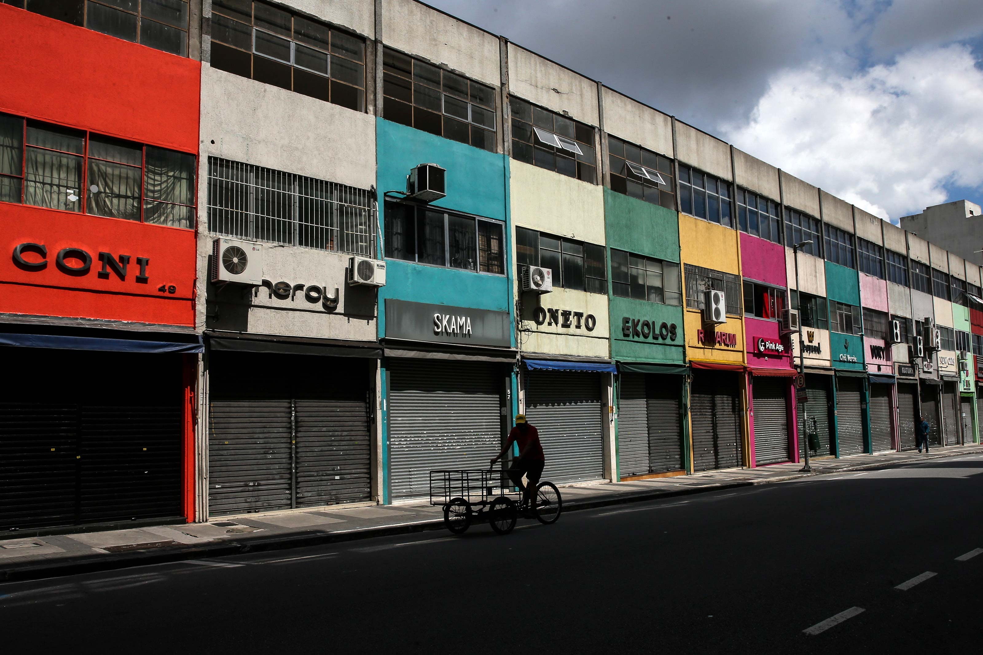 Shops are seen on March 8 in Sao Paulo, Brazil.