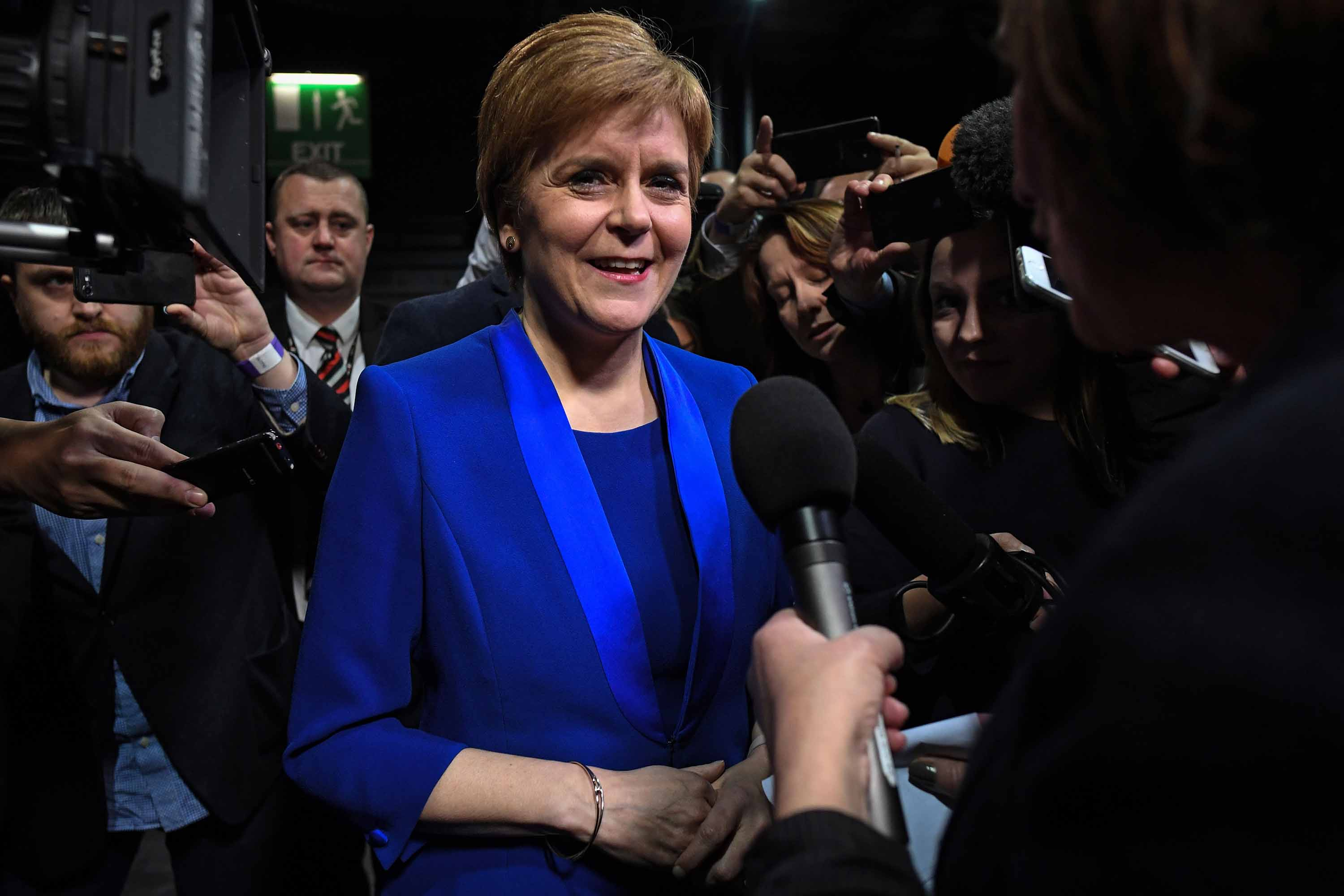 Scottish National Party leader Nicola Sturgeon talks to the media in Glasgow on Friday. Photo: Andy Buchanan/AFP via Getty Images