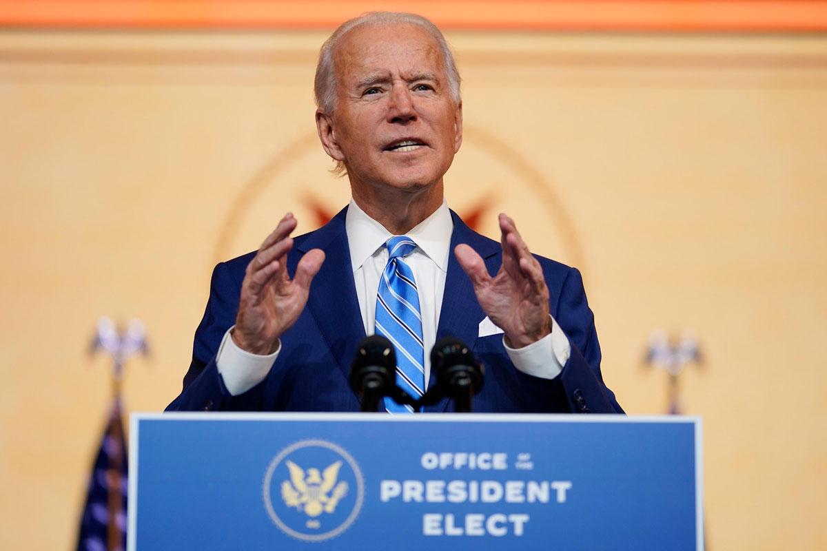 President-elect Joe Biden speaks at The Queen theater on November 25, in Wilmington, Delaware.