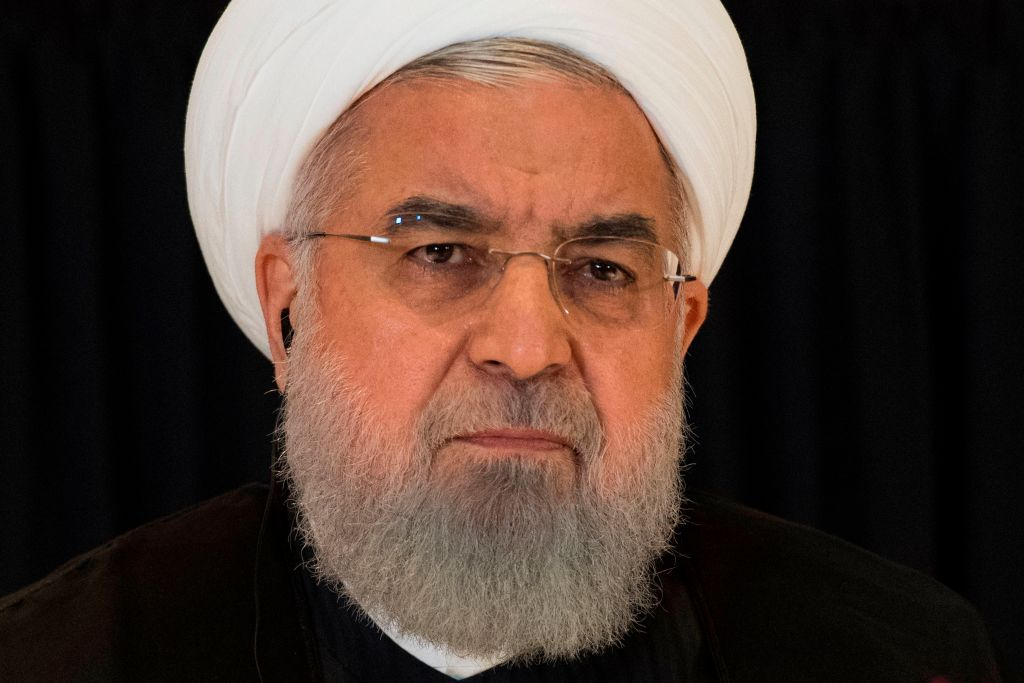 Rouhani on the sidelines of the 2018 United Nations General Assembly.