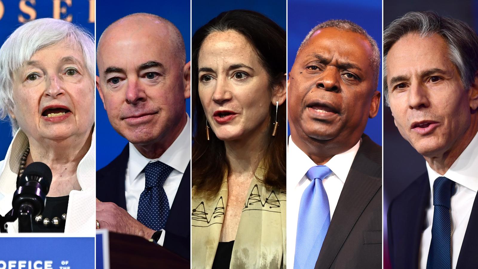 President Joe Biden's Cabinet nominees Janet Yellen, Alejandro Mayorkas, Avril Haines, Lloyd Austin and Antony Blinken.