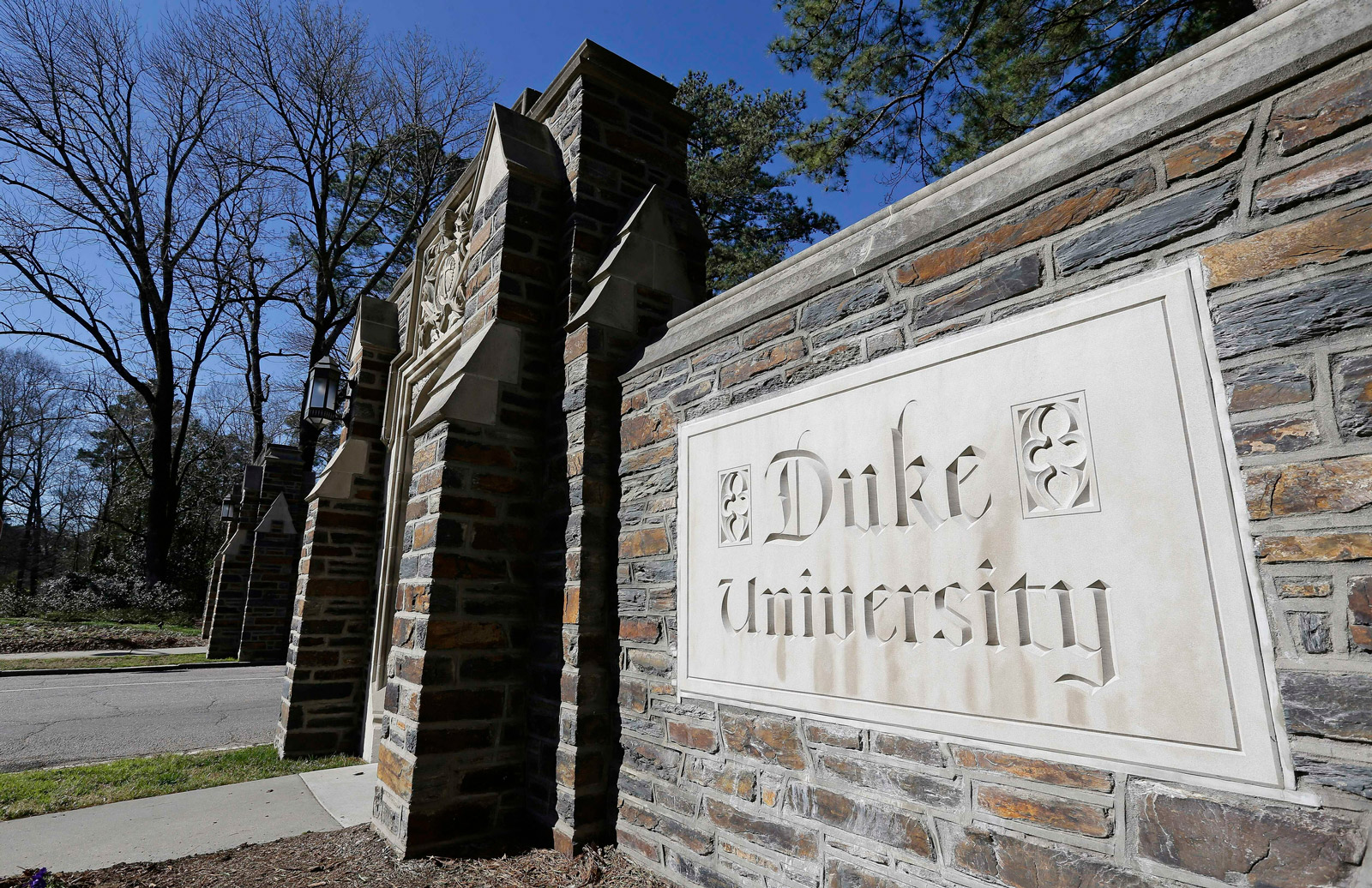 The entrance to the main Duke University campus is shown in Durham, North Carolina, on January 28, 2019.