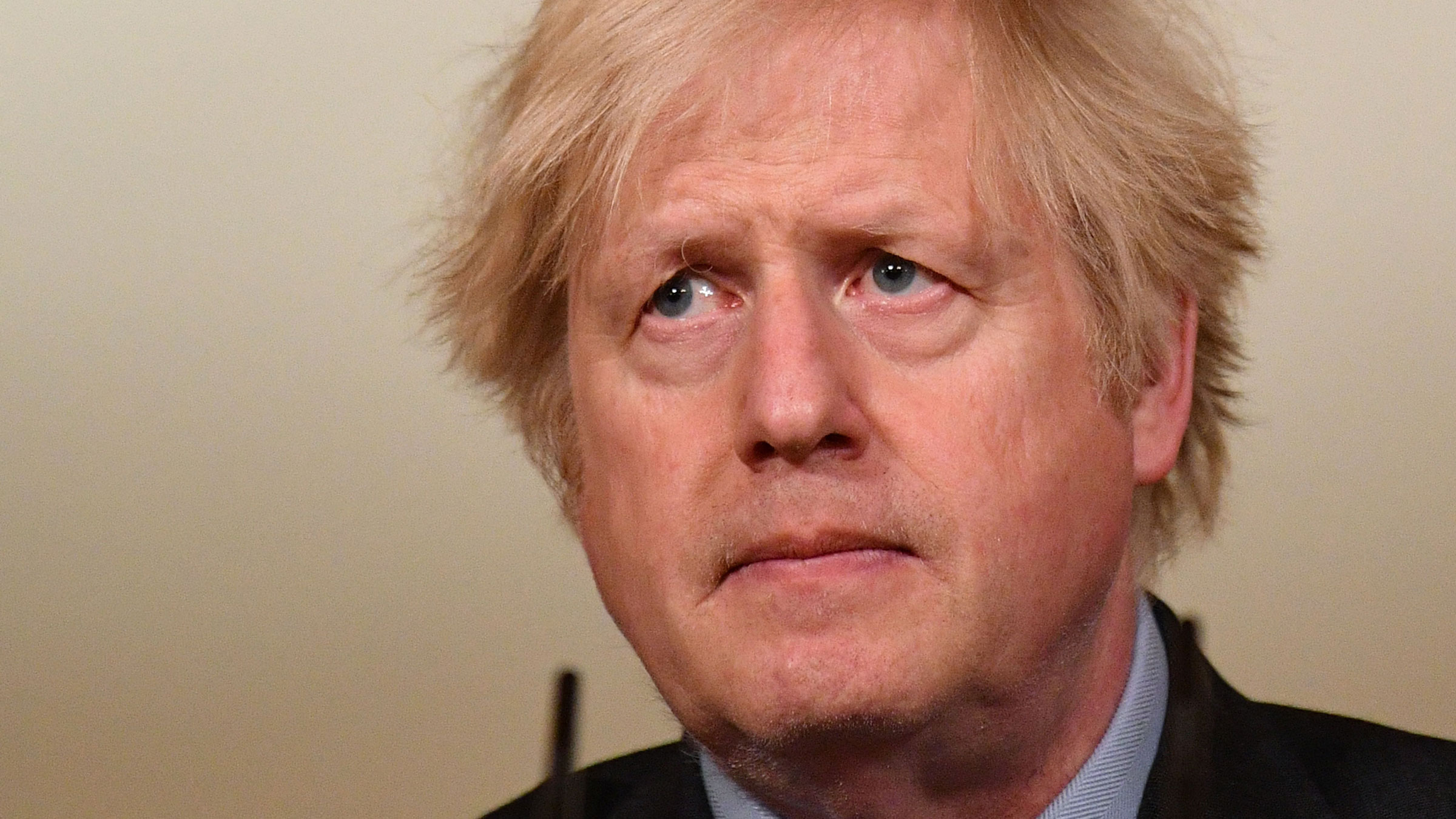 British Prime Minister Boris Johnson leads a virtual news conference on Tuesday.