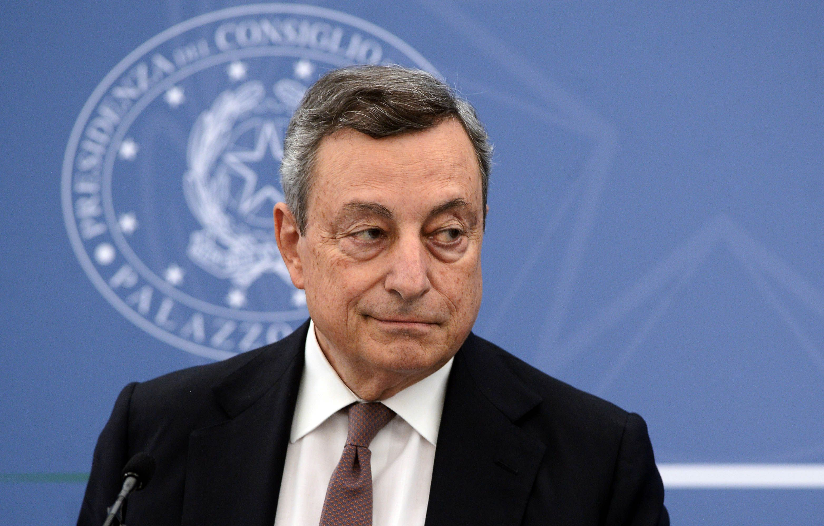 Italian Prime Minister Mario Draghi holds a press conference in Rome on July 22, 2021.