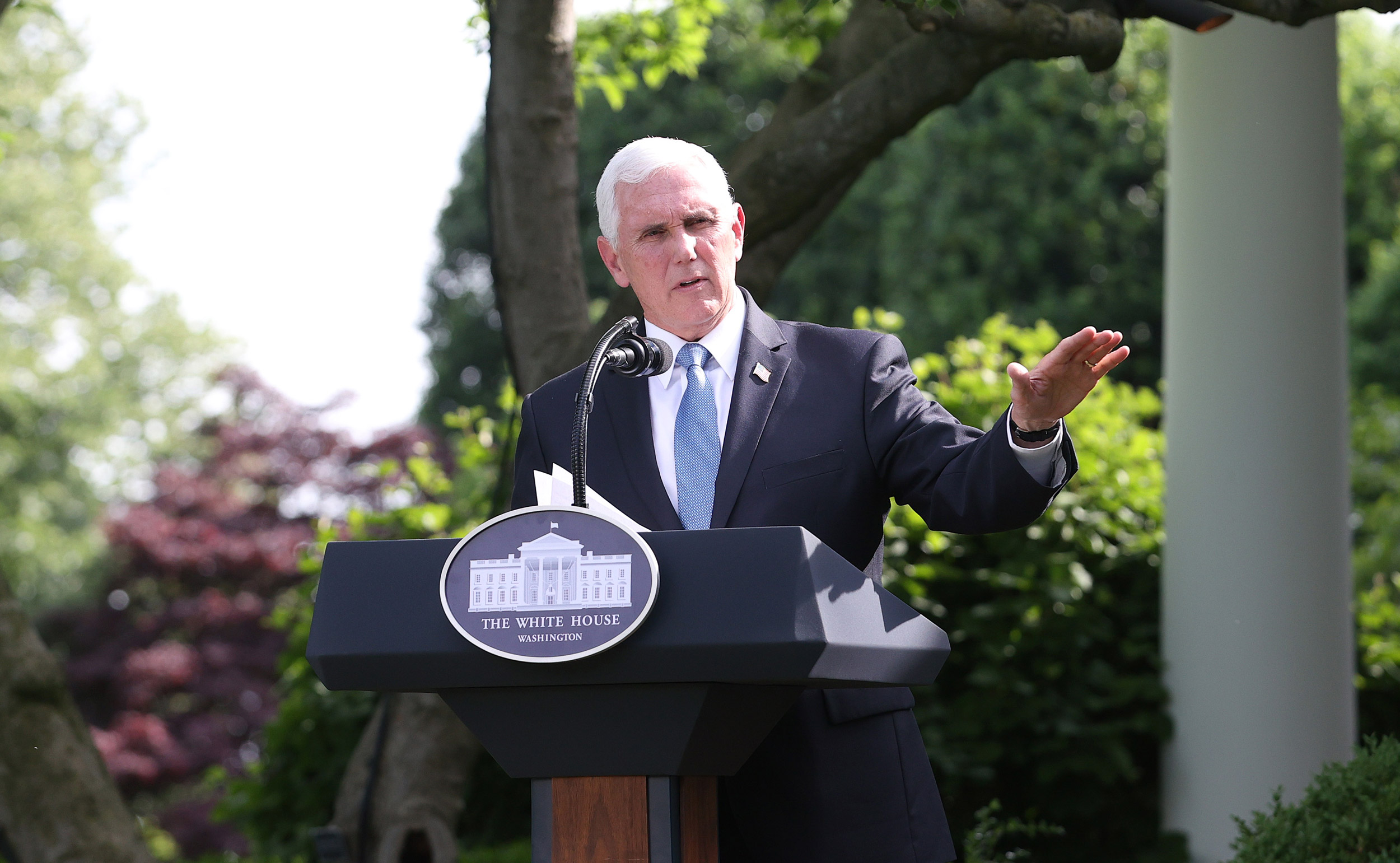 Vice President Mike Pence makes remarks during an event in the Rose Garden at the White House on May 26 in Washington.